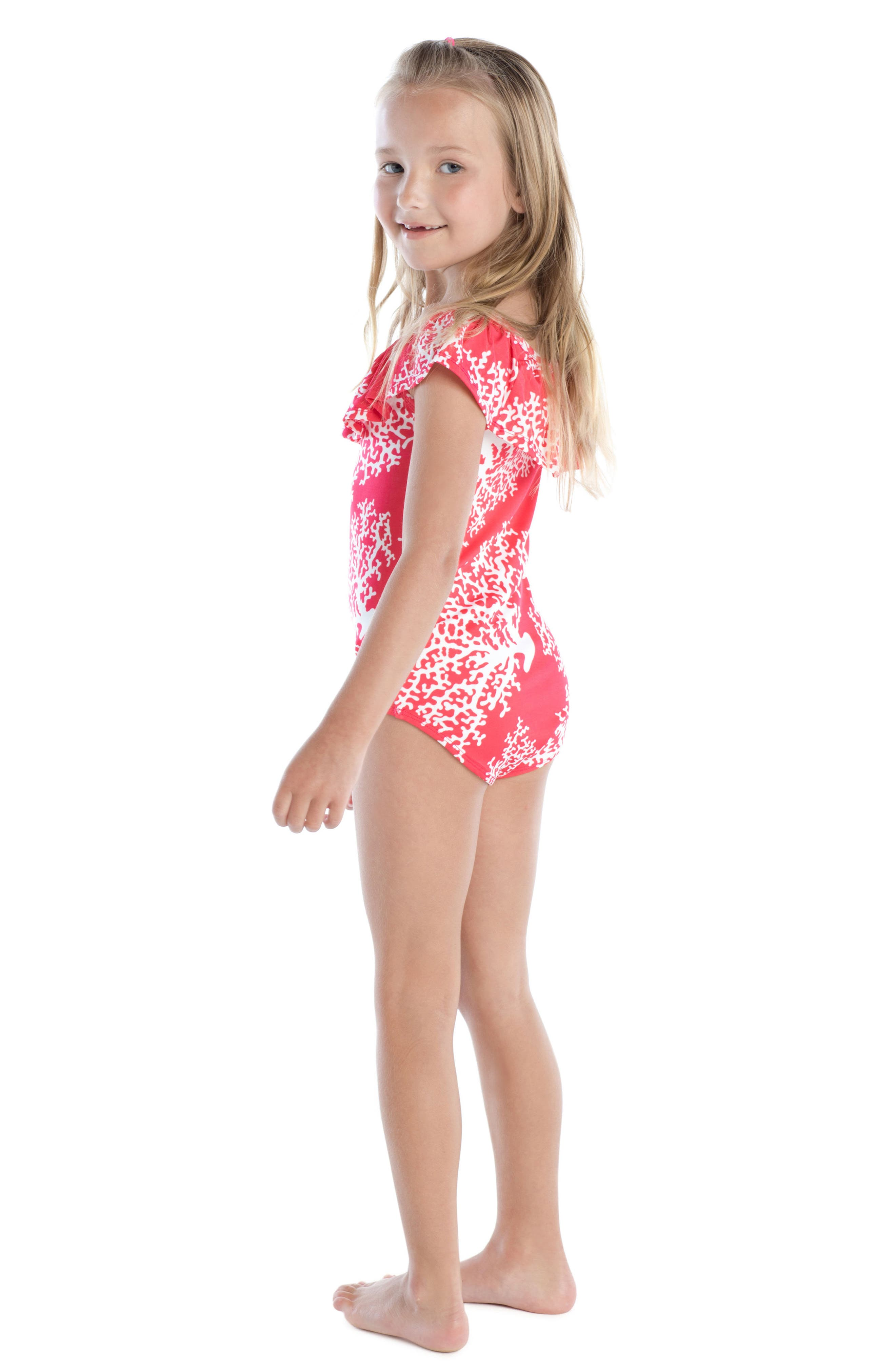 Coral Print One-Piece Swimsuit,                             Alternate thumbnail 3, color,                             600