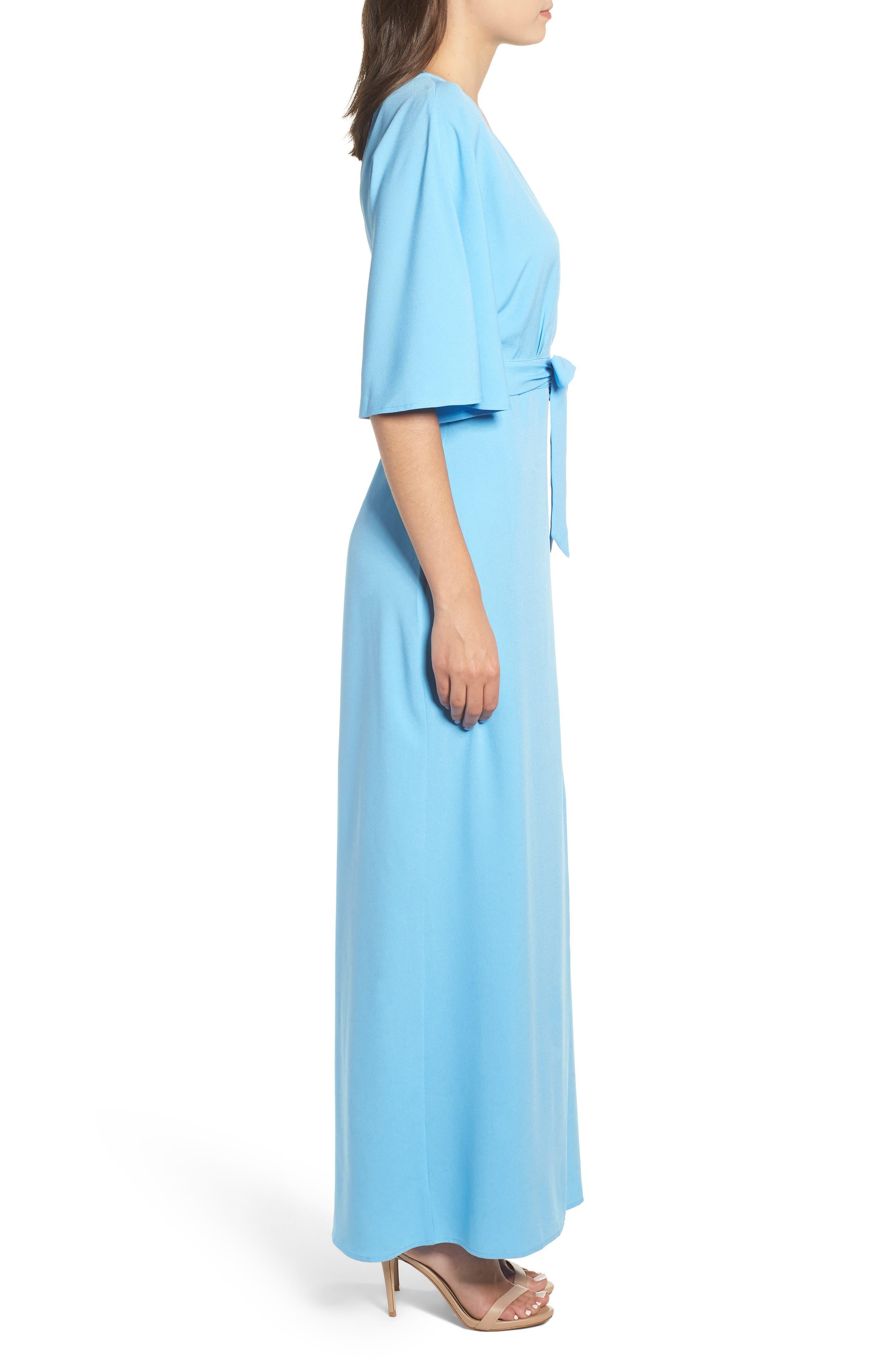 Kimono Maxi Dress,                             Alternate thumbnail 3, color,                             BLUE ALASKAN