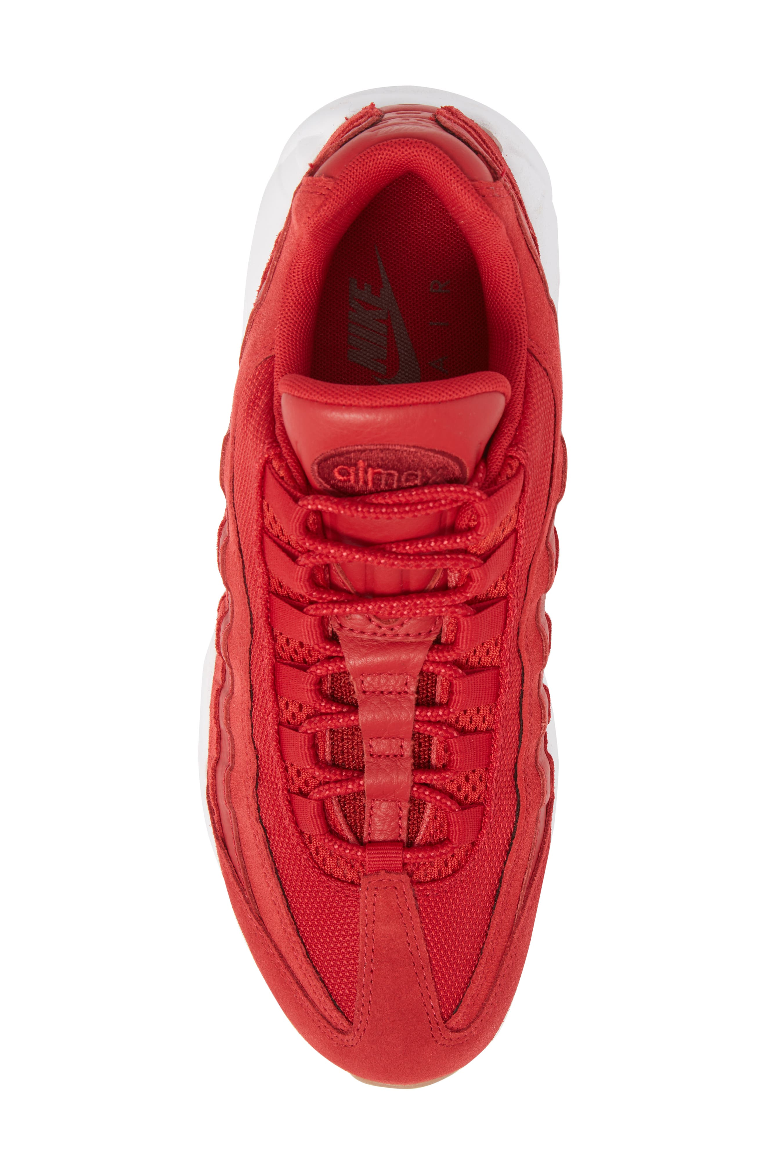 Air Max 95 Sneaker,                             Alternate thumbnail 5, color,                             GYM RED/ TEAM RED/ WHITE