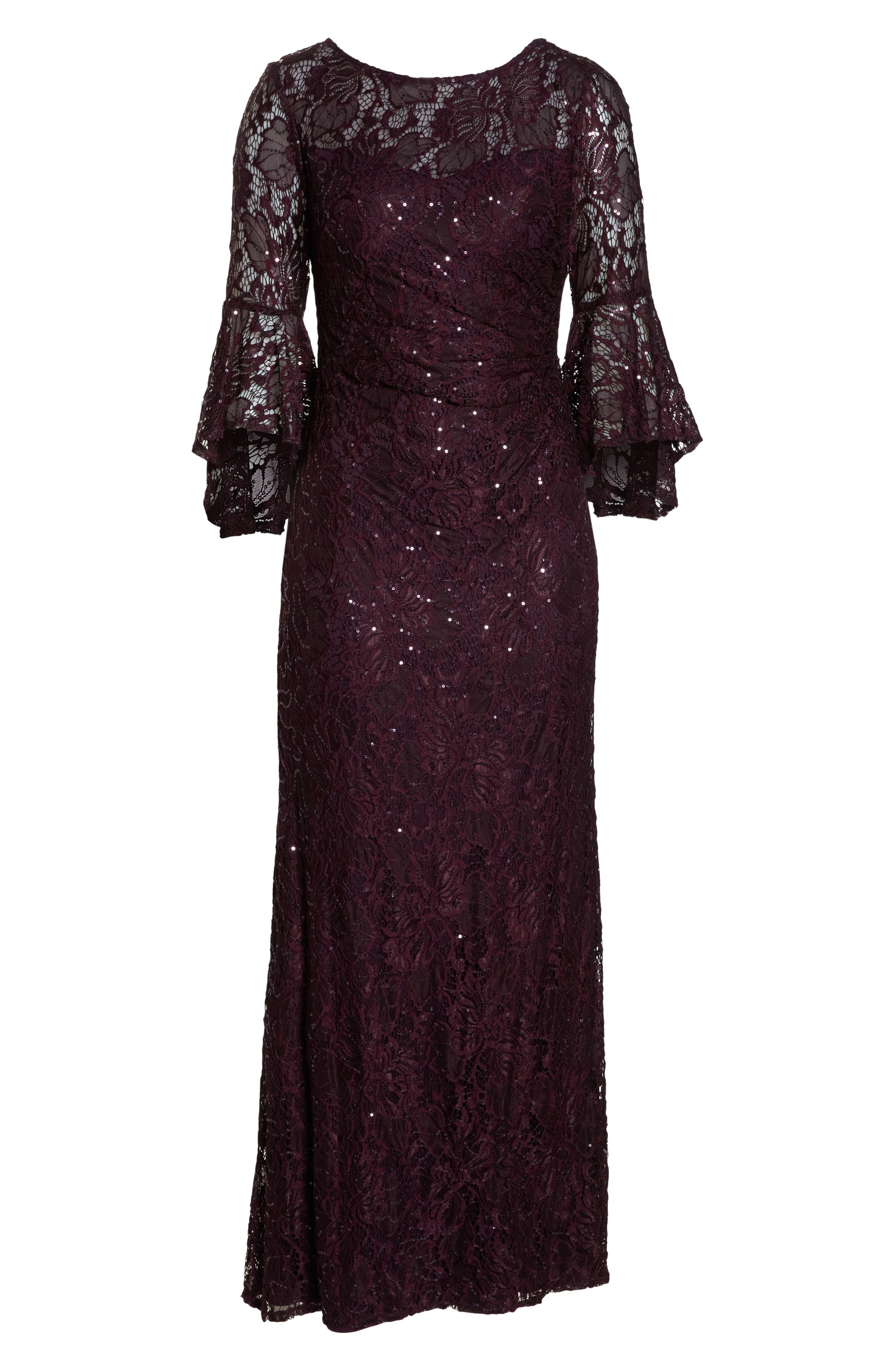 Sequin Embellished Gown,                             Alternate thumbnail 7, color,                             MULBERRY