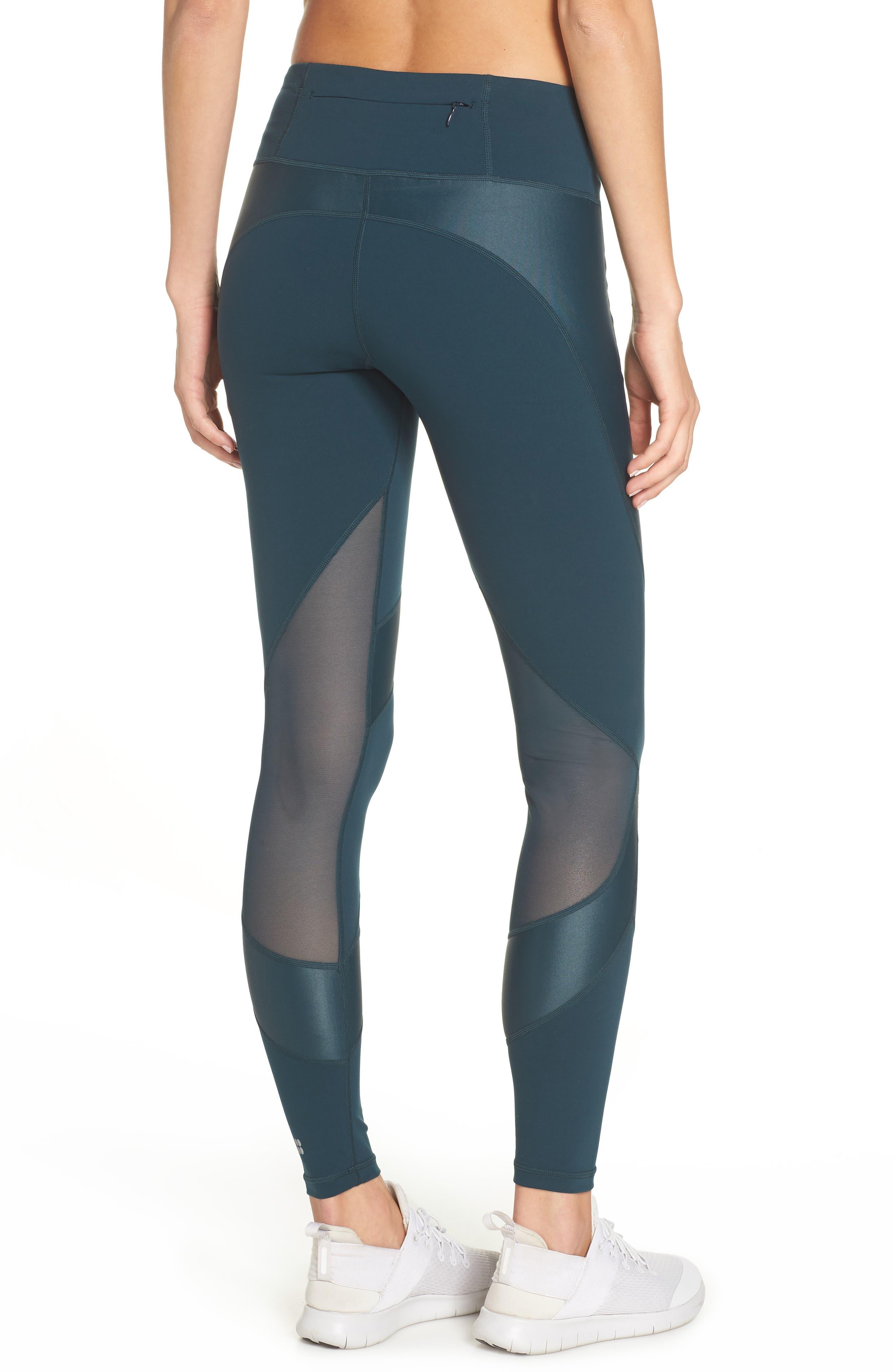 Power Wetlook Mesh Workout Leggings,                             Alternate thumbnail 2, color,                             MIDNIGHT TEAL