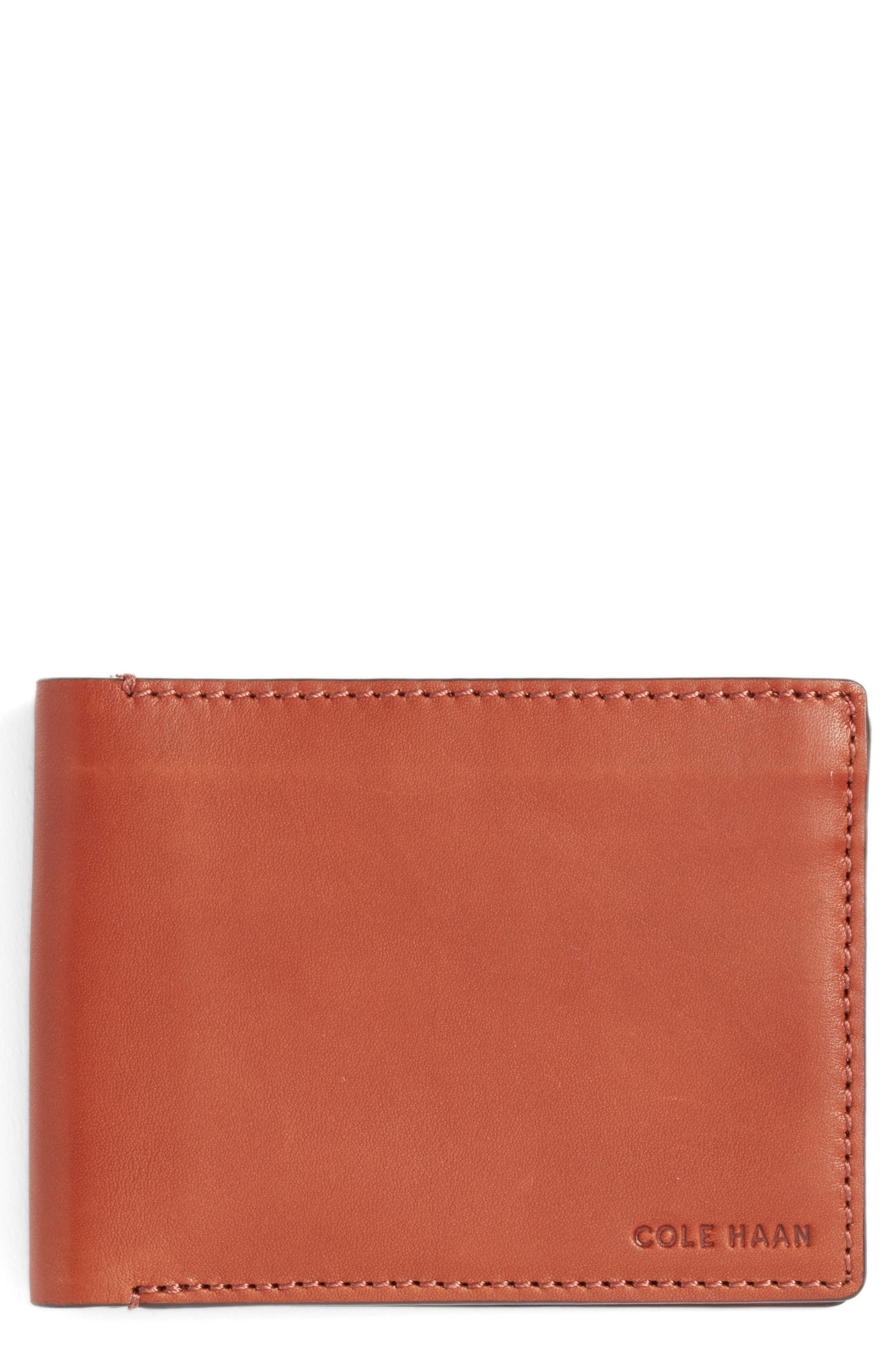 Bifold Leather Wallet with Pass Case,                             Main thumbnail 2, color,