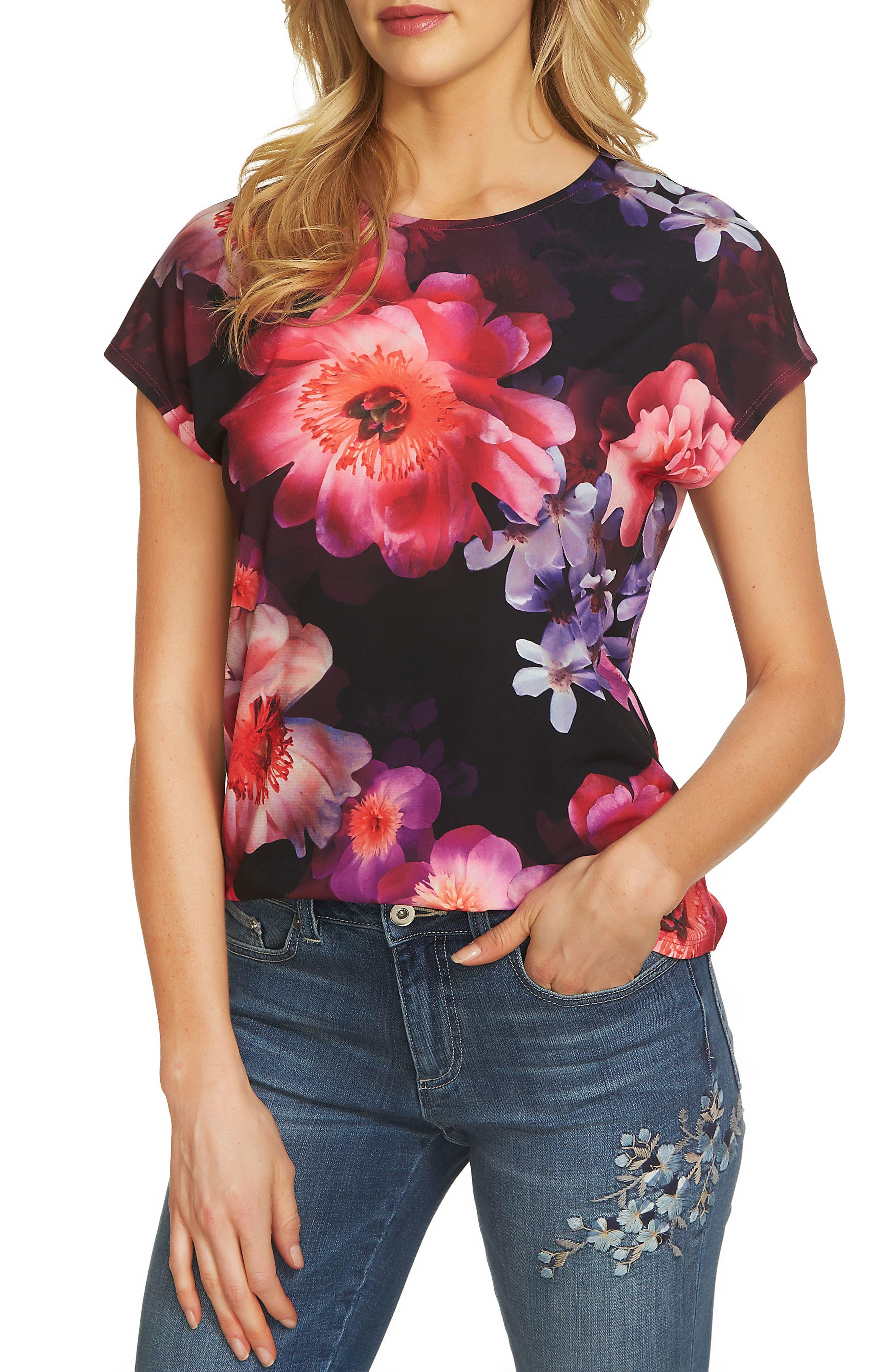 Floral Knit Tee,                             Main thumbnail 1, color,                             674