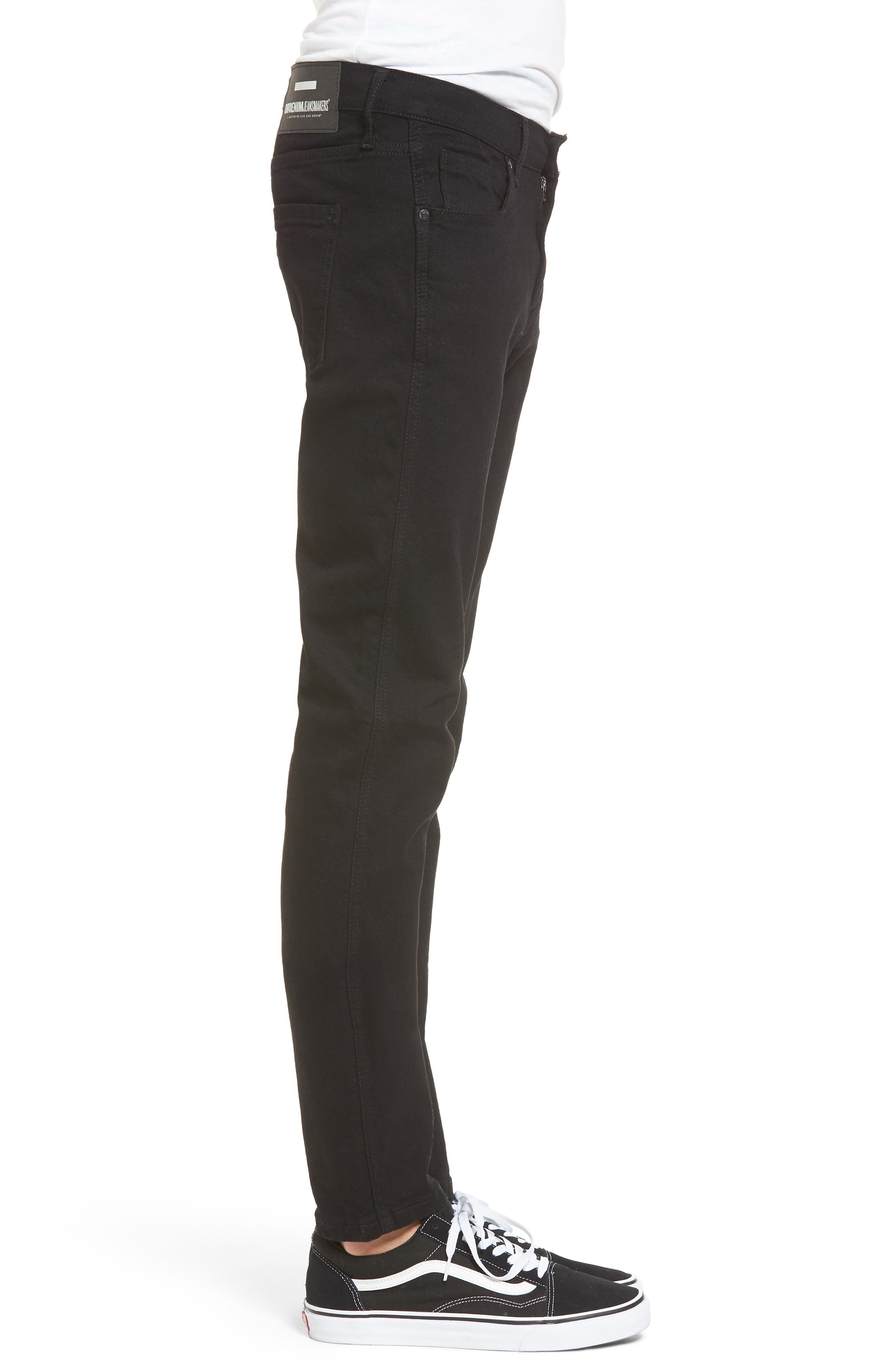 Snap Skinny Fit Jeans,                             Alternate thumbnail 3, color,                             ORGANIC BLACK
