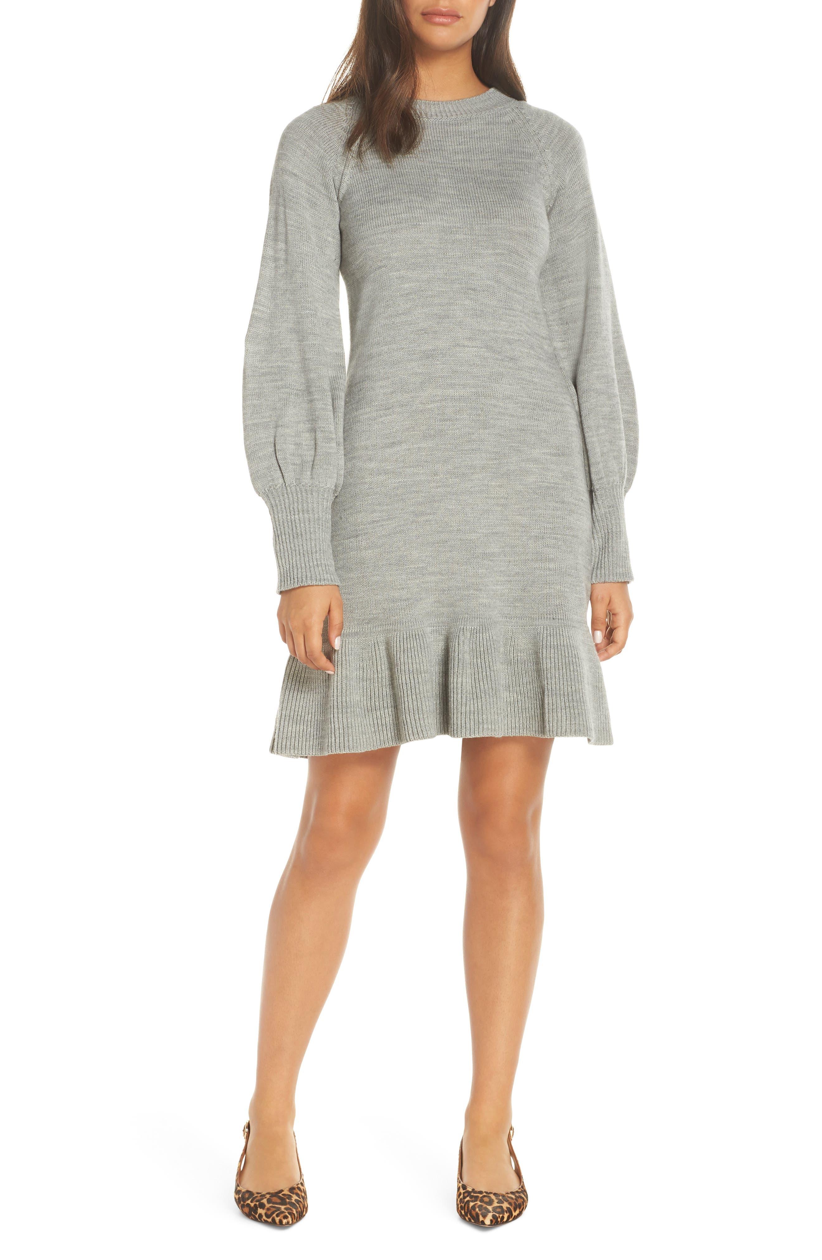 Balloon Sleeve Sweater Dress,                             Main thumbnail 1, color,                             GREY