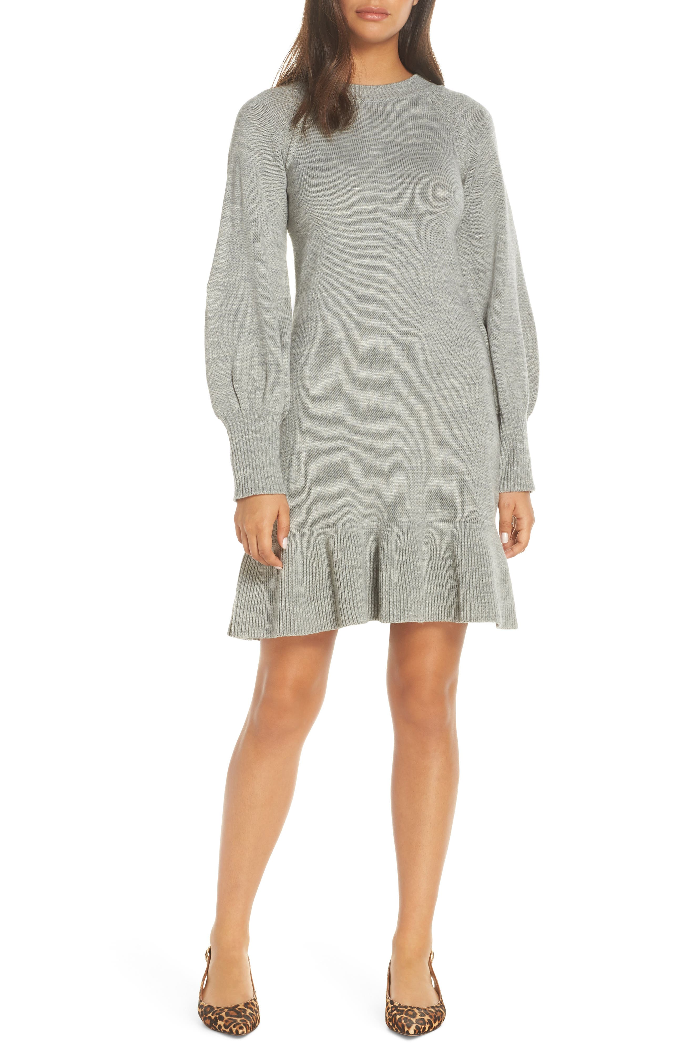 Balloon Sleeve Sweater Dress,                         Main,                         color, GREY