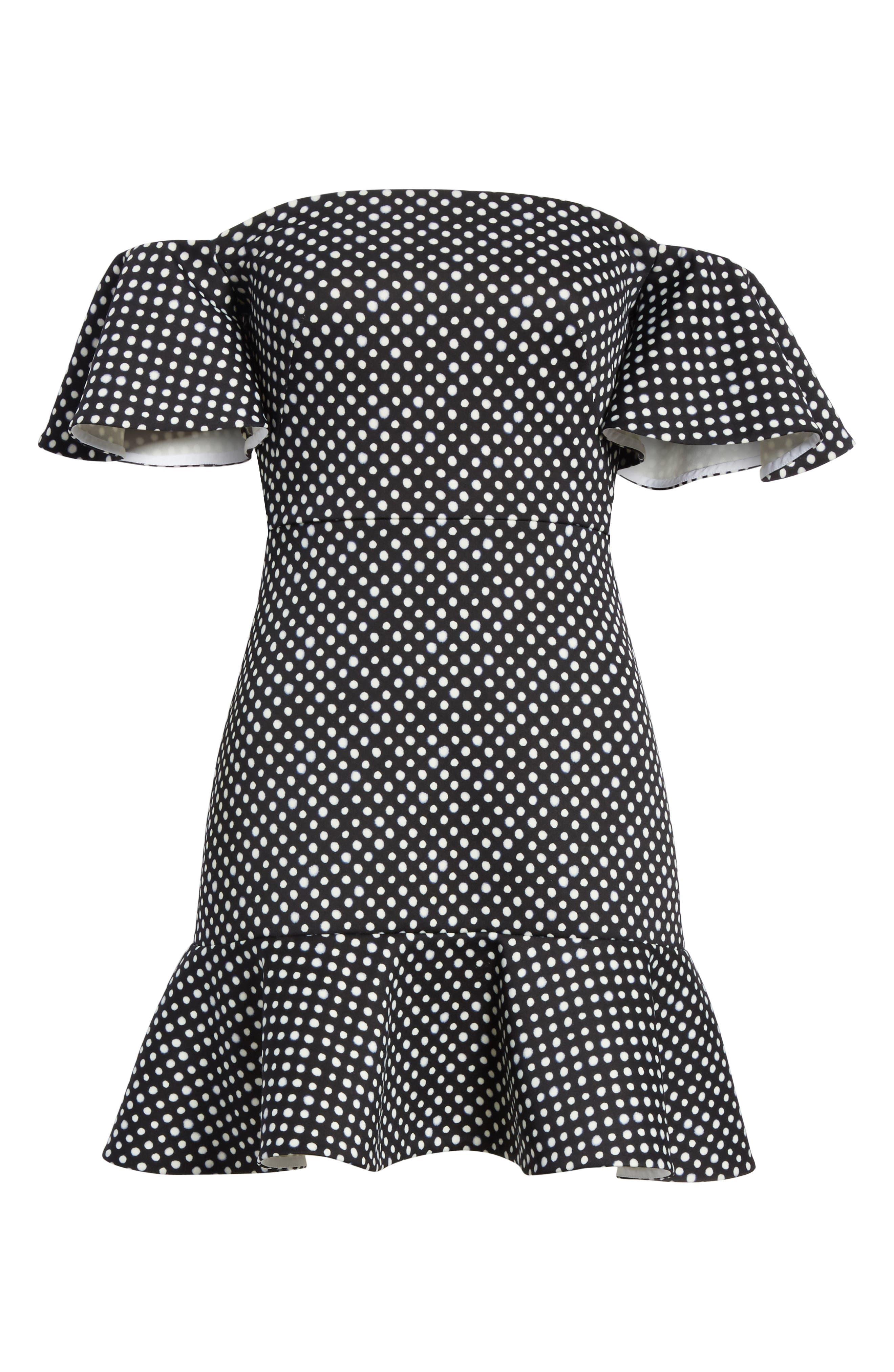 Amelia Polka Dot Print Off the Shoulder Dress,                             Alternate thumbnail 6, color,
