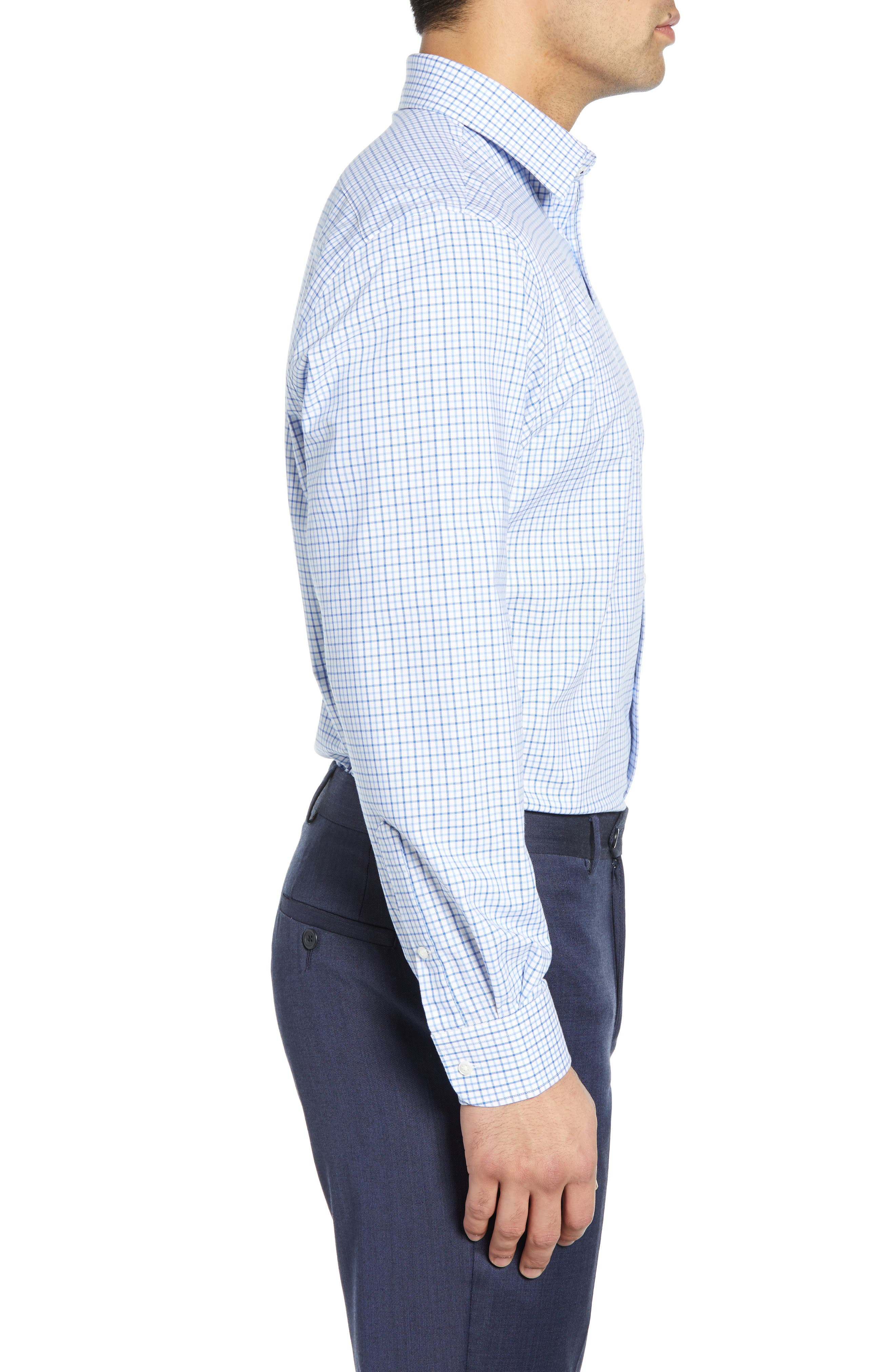 NORDSTROM MEN'S SHOP,                             Tech-Smart Traditional Fit Check Stretch Dress Shirt,                             Alternate thumbnail 4, color,                             BLUE VICTORIA
