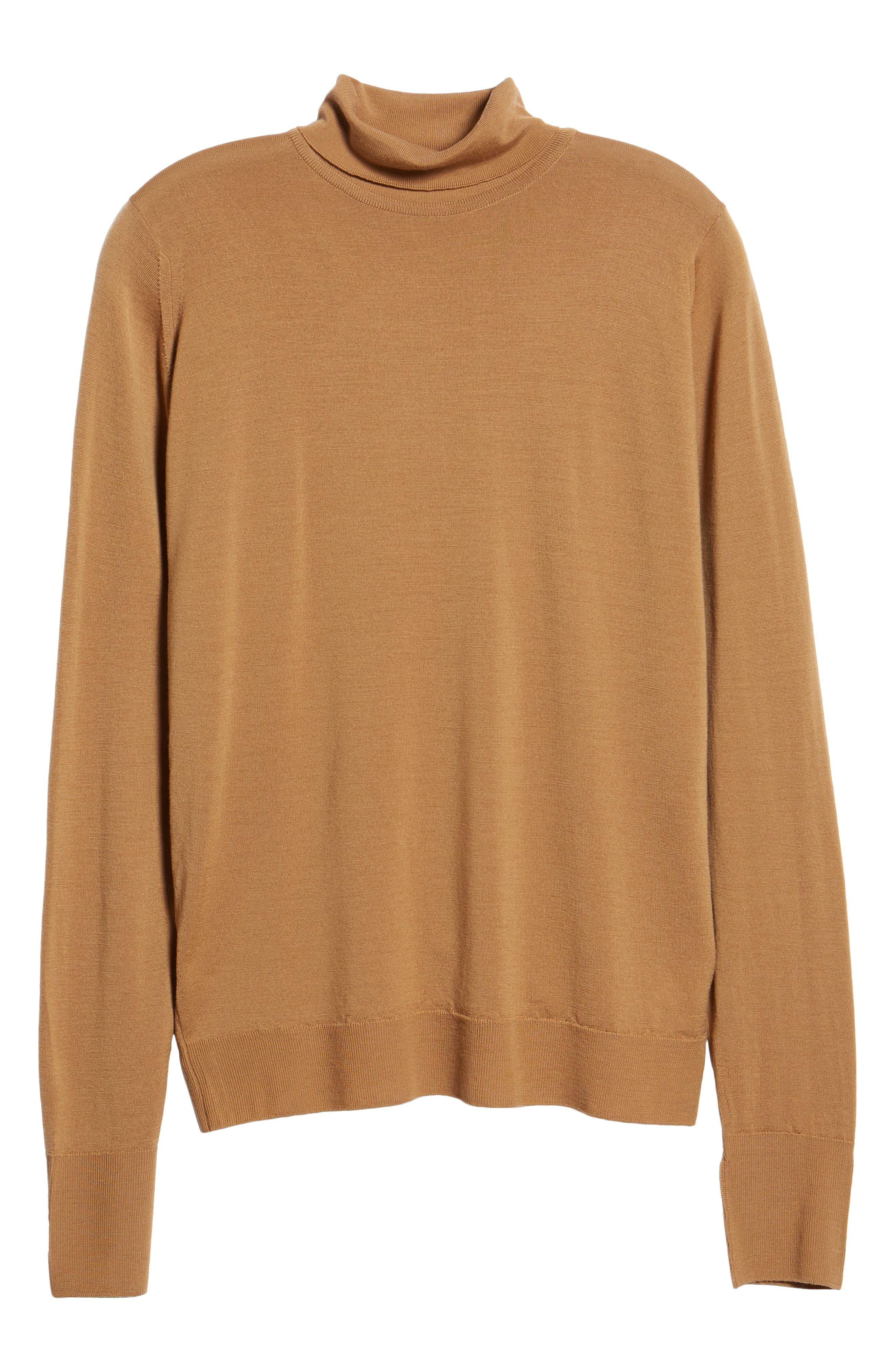 'Richards' Easy Fit Turtleneck Wool Sweater,                             Alternate thumbnail 6, color,                             CAMEL