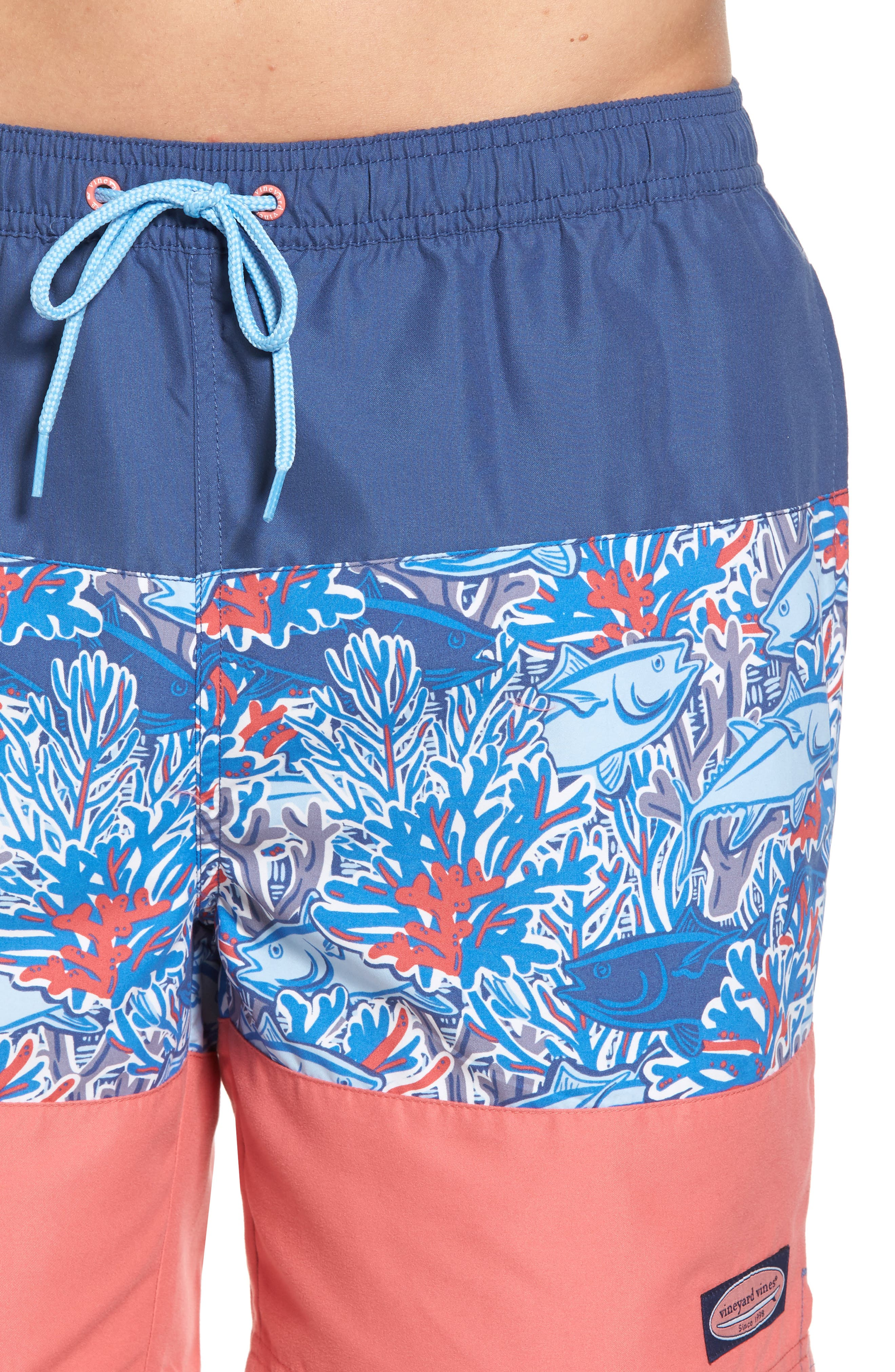 Chappy - Tuna in Coral Pieced Print Swim Trunks,                             Alternate thumbnail 4, color,