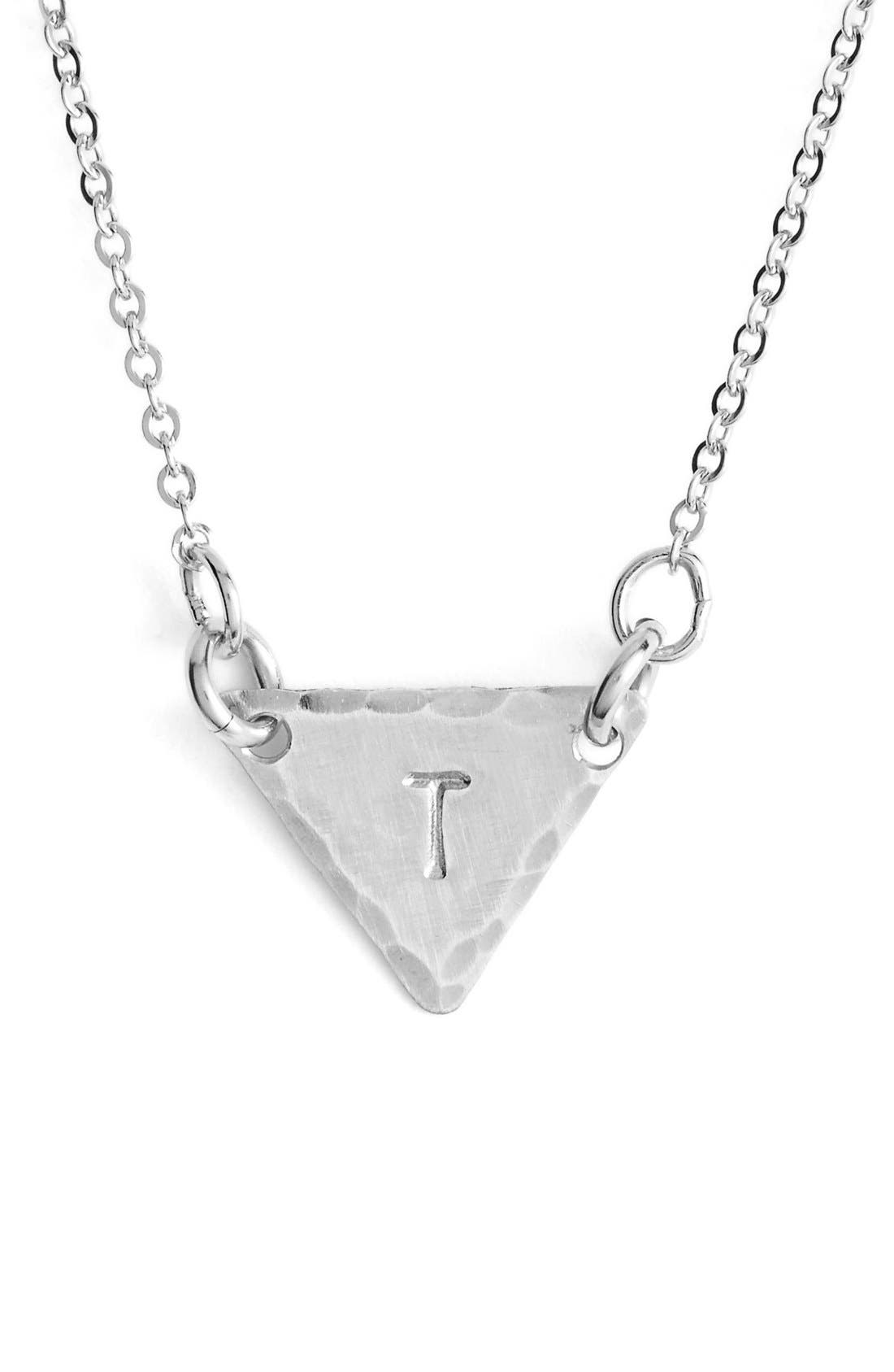 Sterling Silver Initial Mini Triangle Necklace,                             Main thumbnail 20, color,