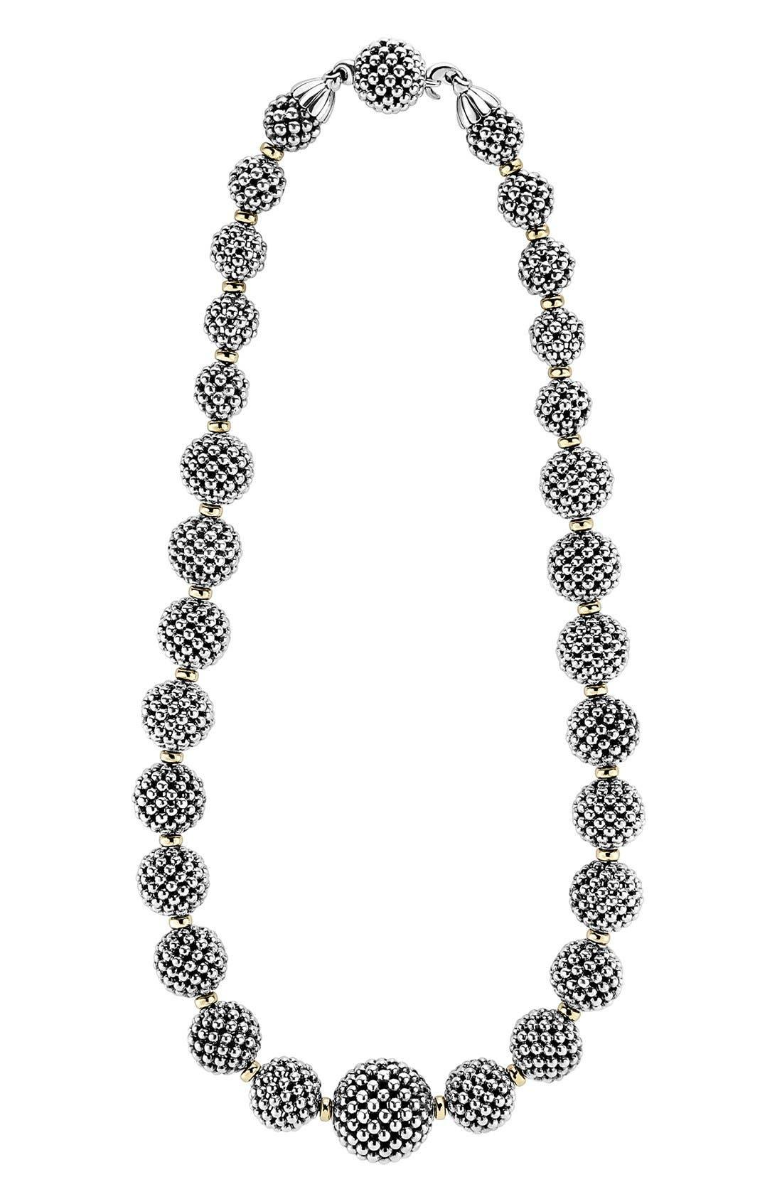 'Caviar Forever' Lattice Ball Necklace,                         Main,                         color, SILVER