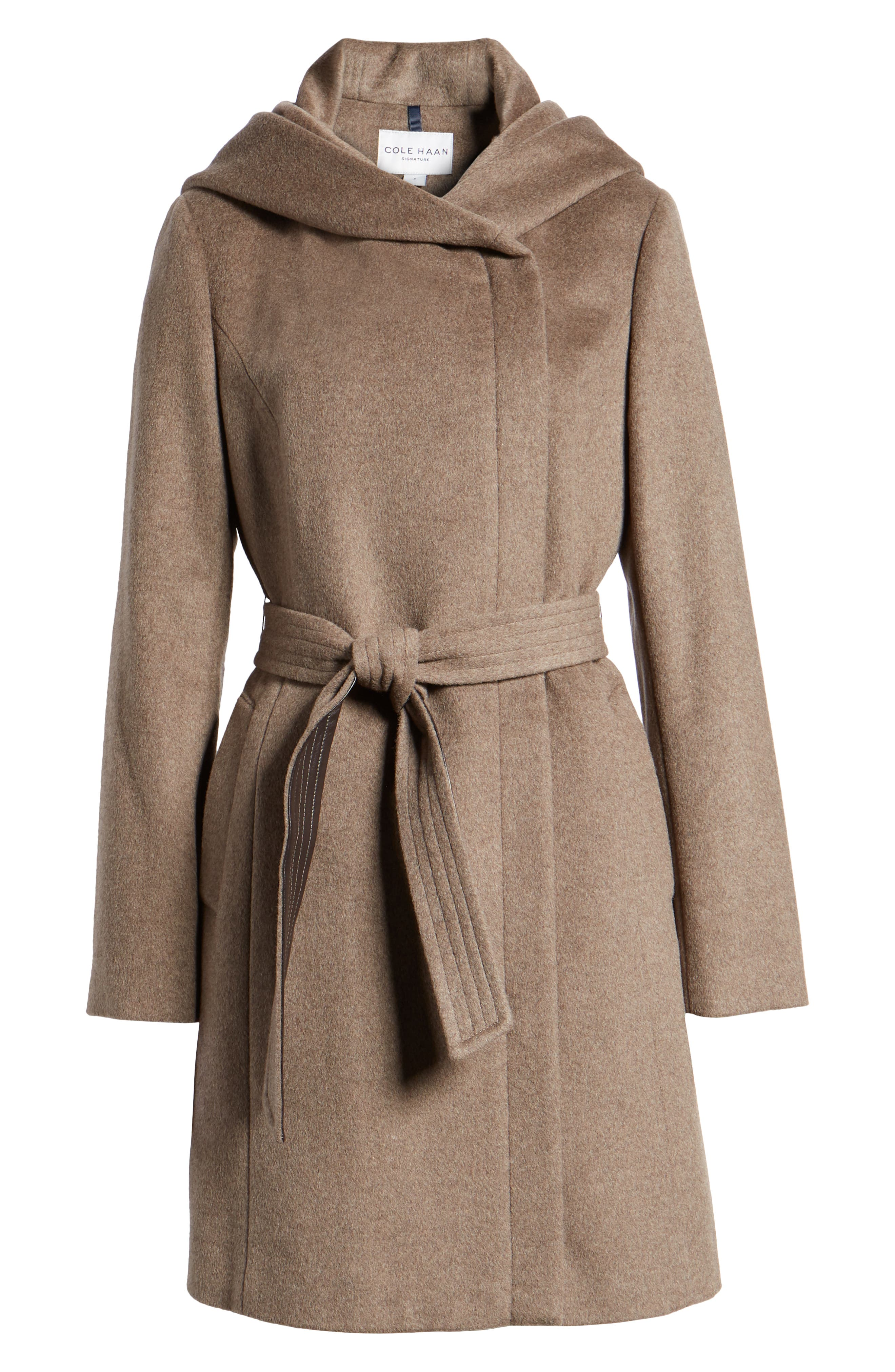 Cole Haan Belted Asymmetrical Wool Coat,                             Alternate thumbnail 6, color,                             PORTOBELLO