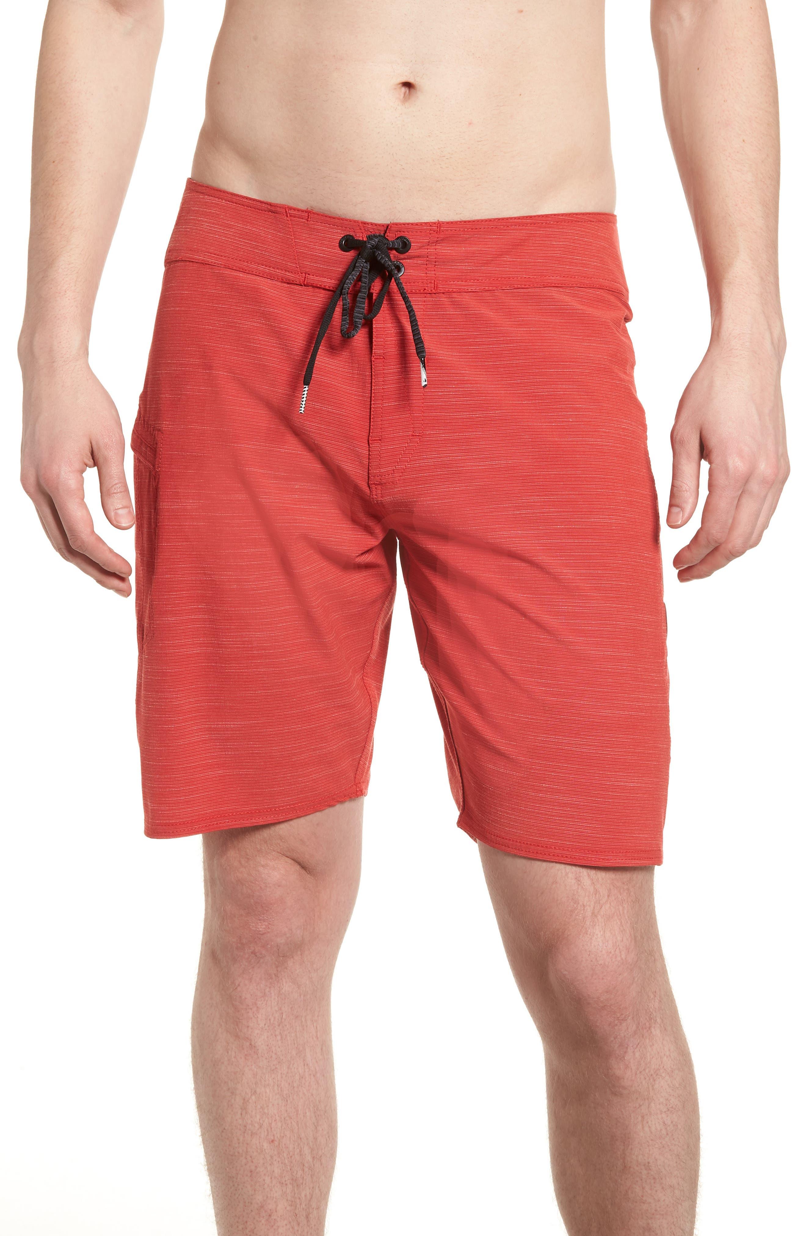 Lido Slub Modern Board Shorts,                             Main thumbnail 1, color,                             RED