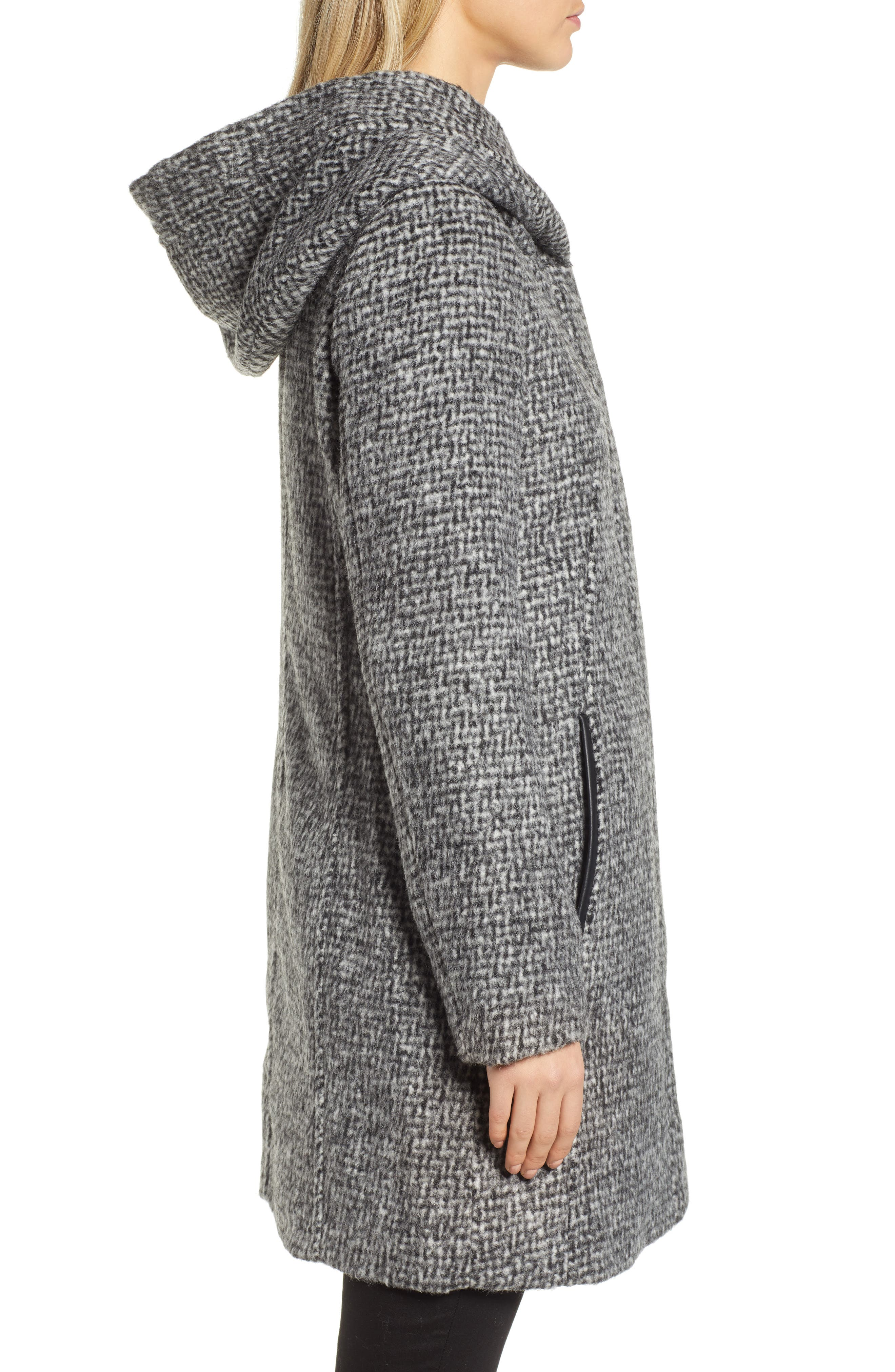 Fuzzy Houndstooth Coat,                             Alternate thumbnail 3, color,                             BLACK/ WHITE