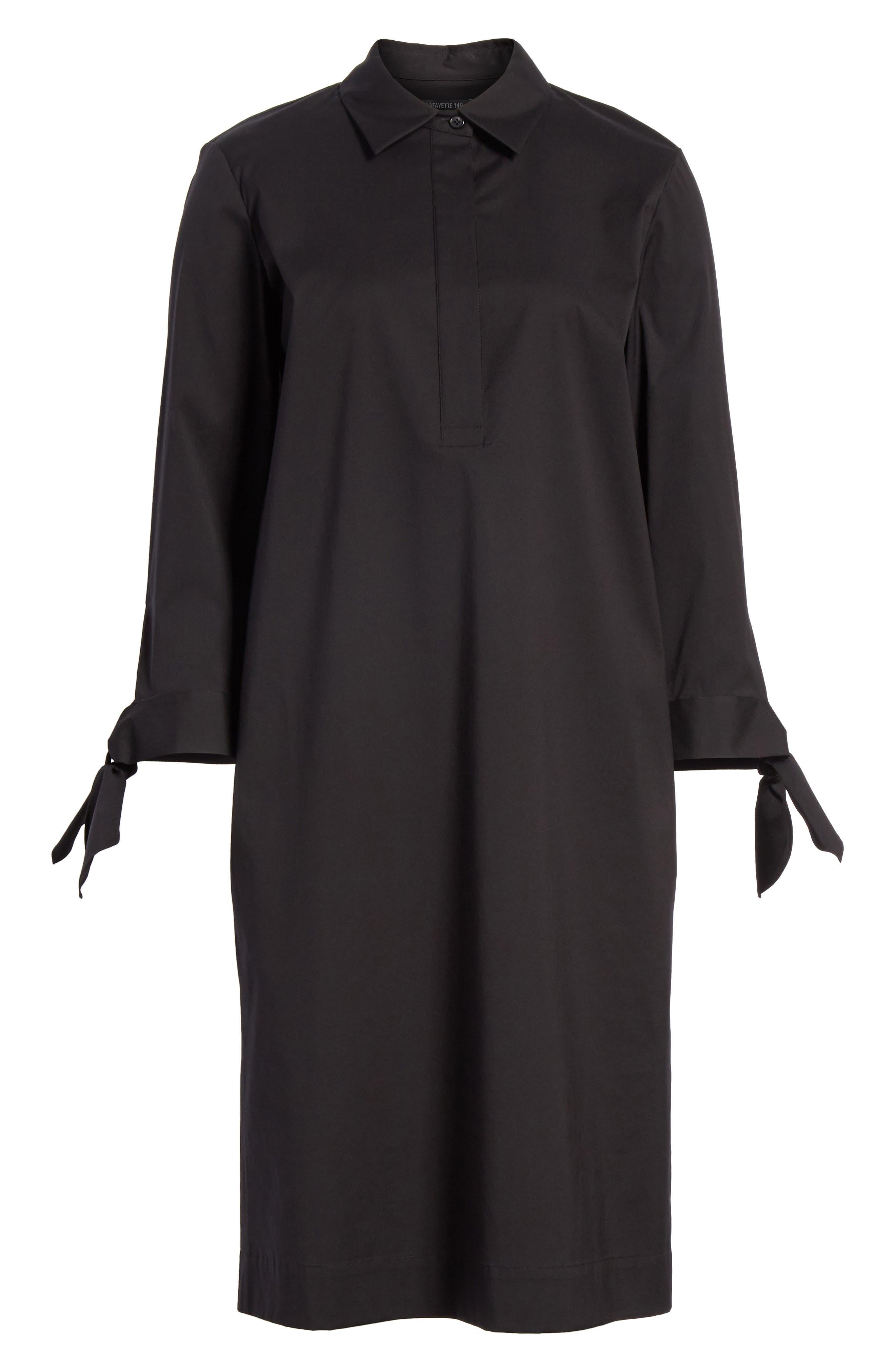 Talia Stretch Cotton Blend Dress,                             Alternate thumbnail 7, color,                             BLACK