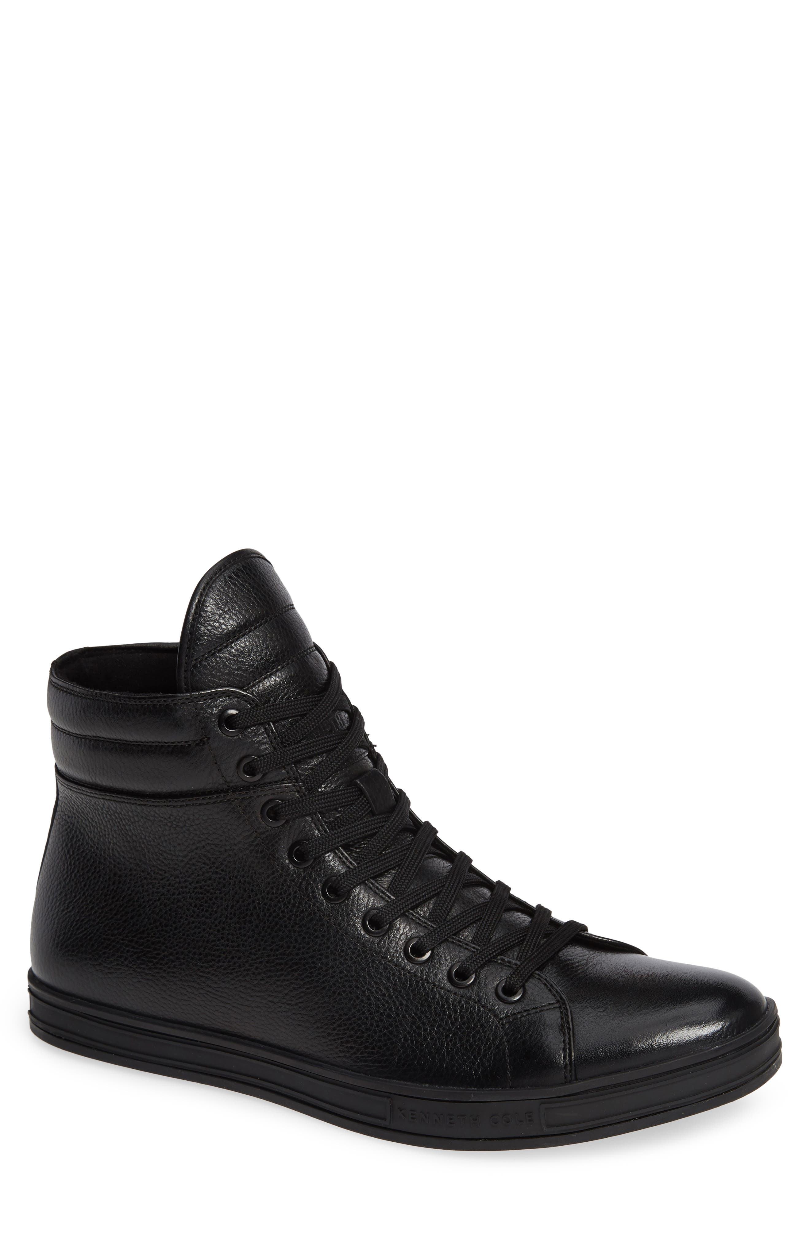 Brand F Sneaker,                         Main,                         color, BLACK LEATHER