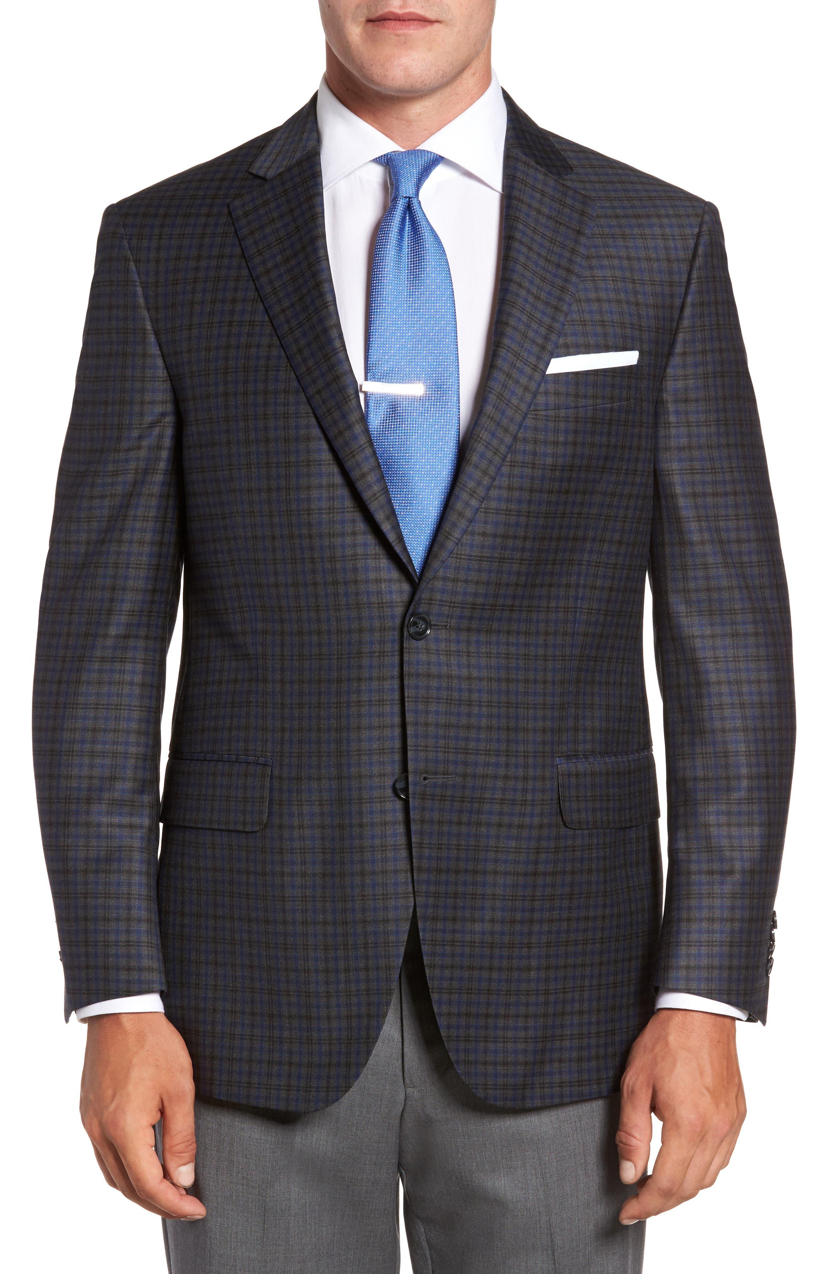 Flynn Classic Fit Plaid Wool Sport Coat,                             Main thumbnail 1, color,