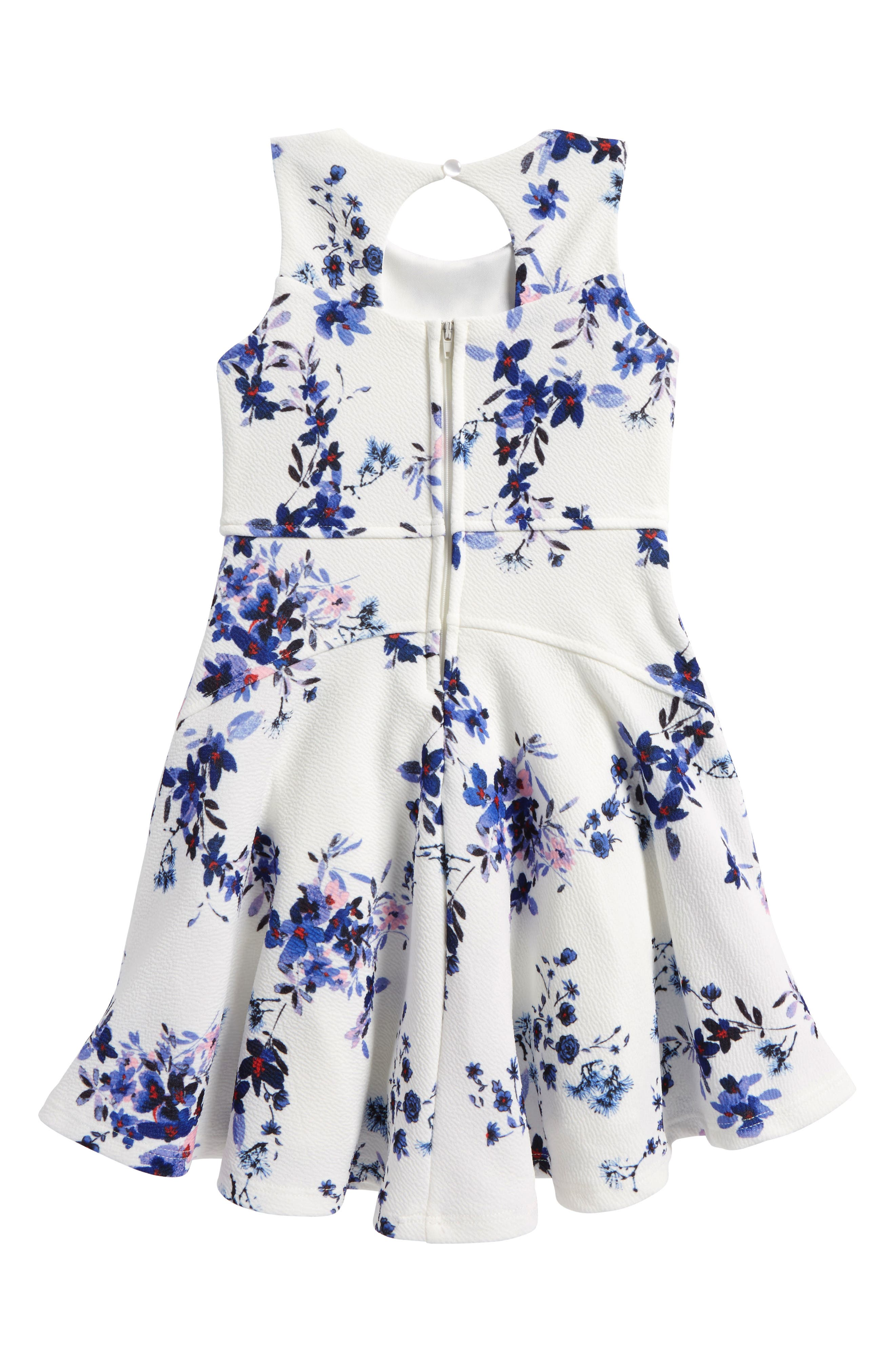 Floral Print Skater Dress,                             Alternate thumbnail 2, color,                             111