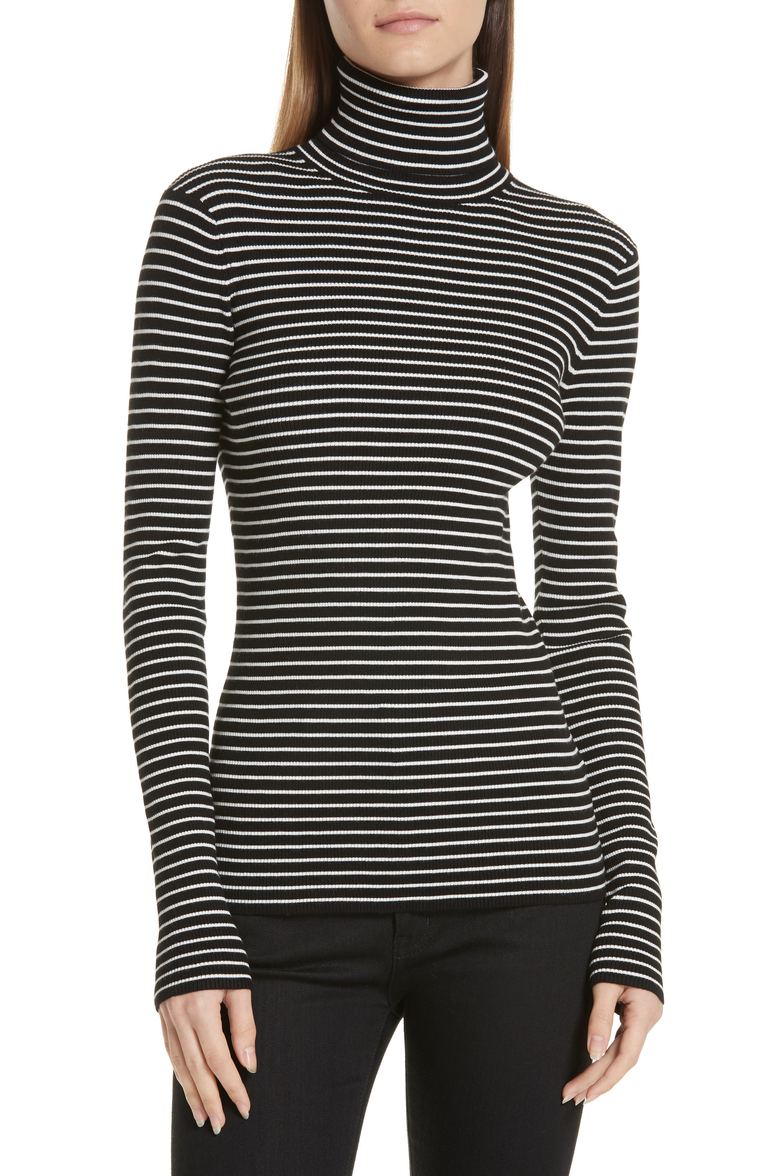 Fine Line Stripe Turtleneck,                             Main thumbnail 1, color,                             BLACK AND WHITE STRIPES