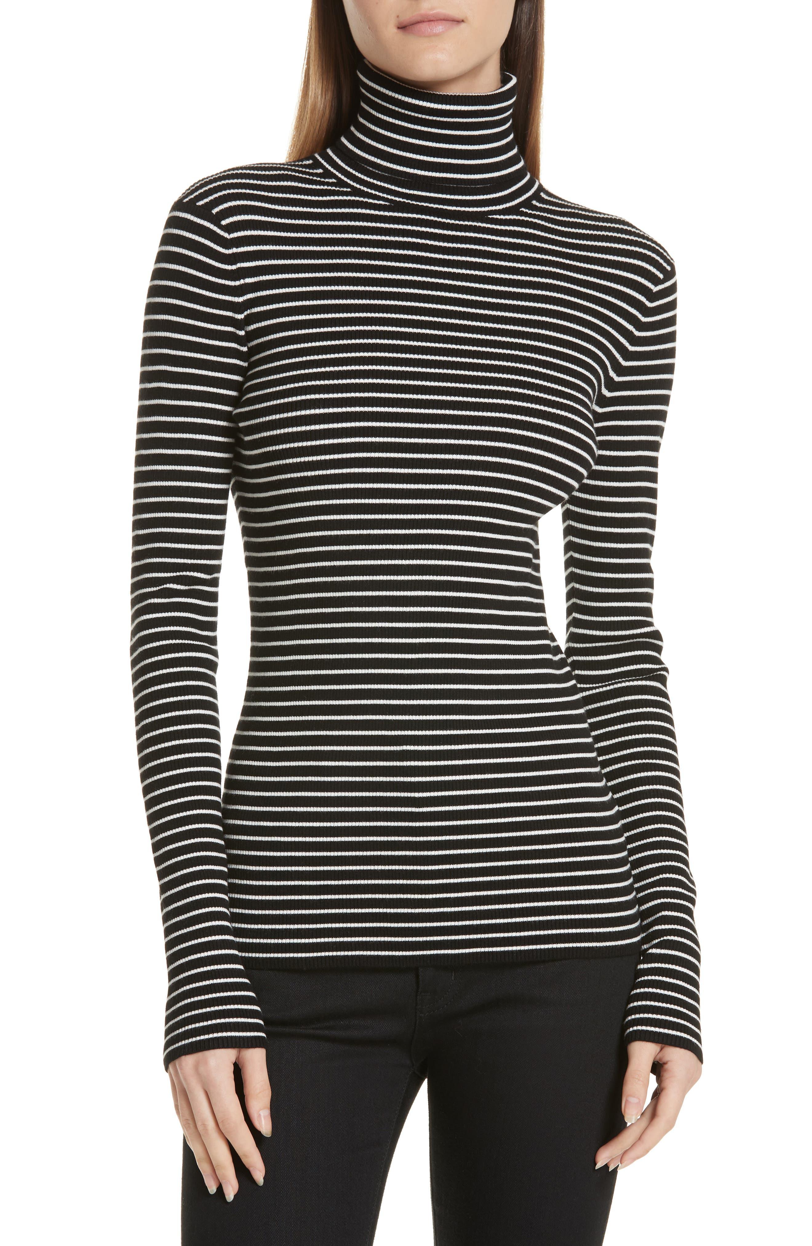 Fine Line Stripe Turtleneck,                         Main,                         color, BLACK AND WHITE STRIPES