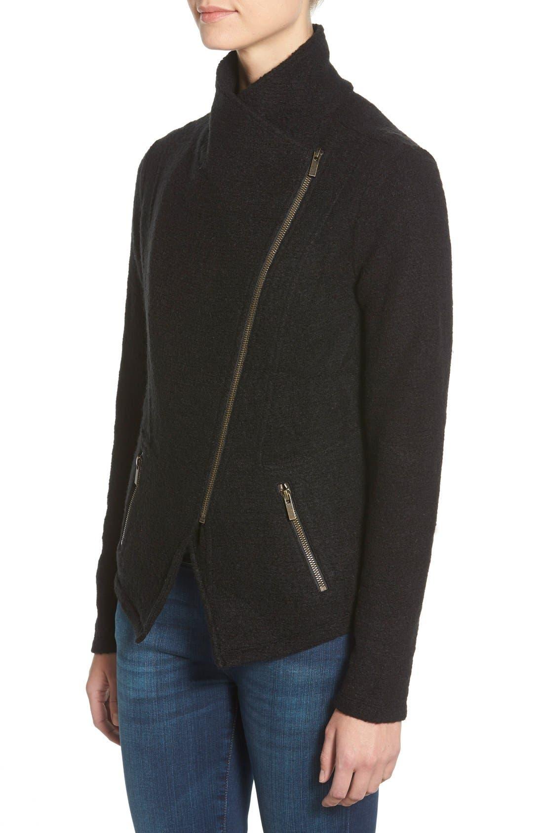 Knit Moto Jacket,                             Alternate thumbnail 11, color,                             BLACK