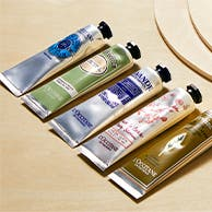 Five tubes of hand cream from L'Occitane.
