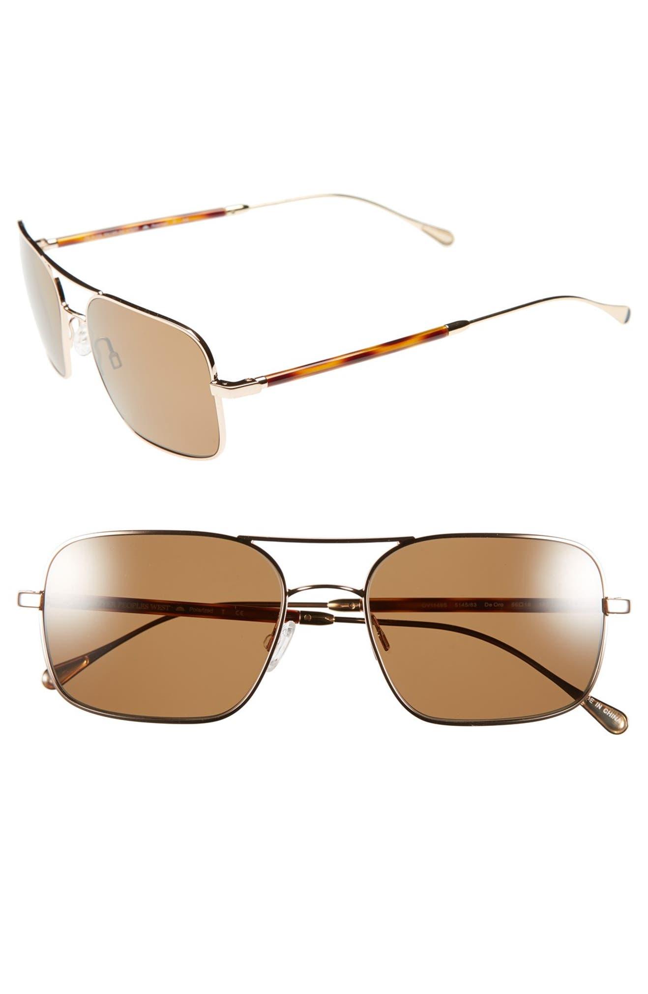 f5e8c77bd4 Oliver Peoples West  De Oro  56mm Polarized Metal Aviator Sunglasses ...