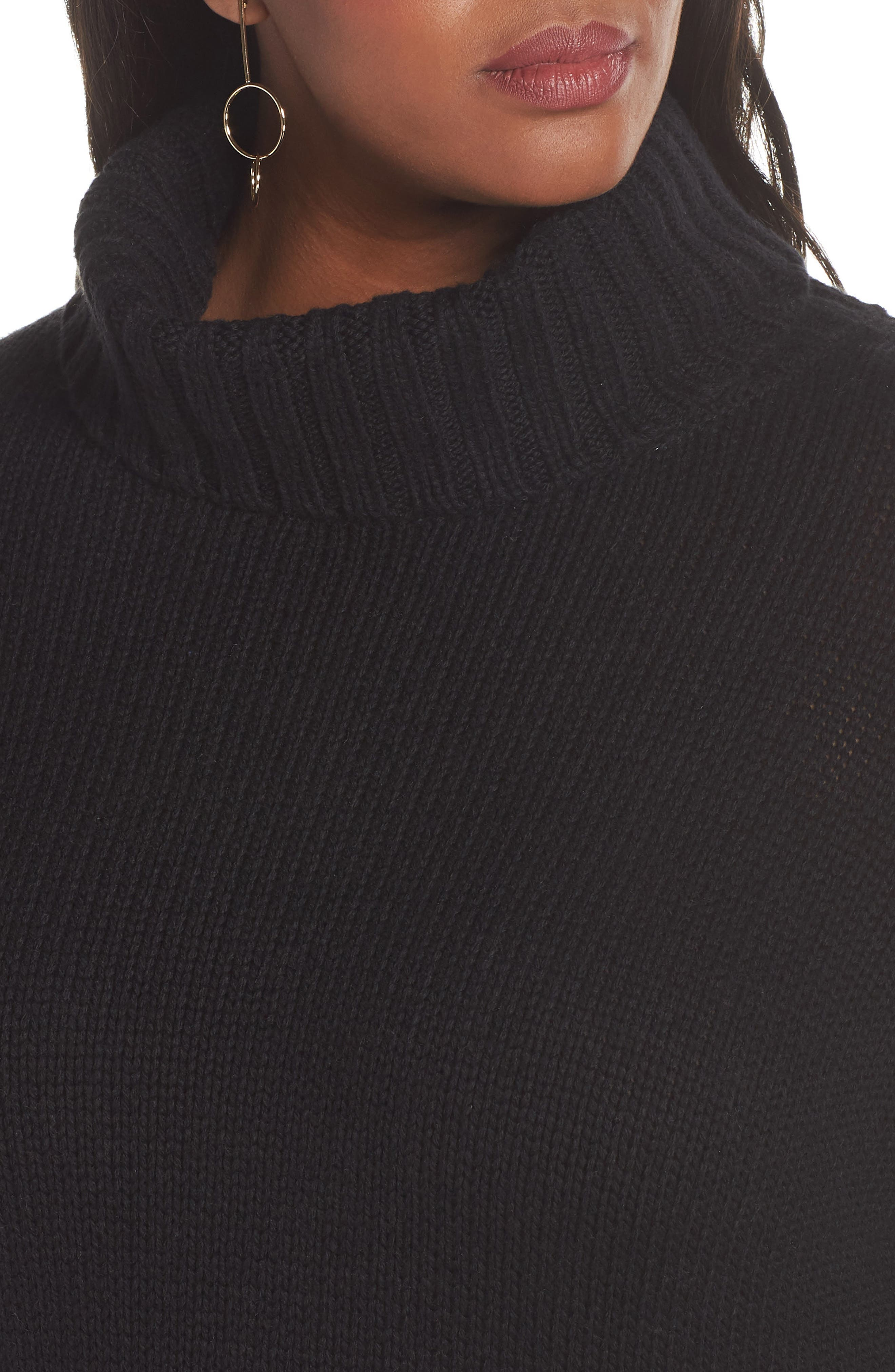 High/Low Turtleneck Sweater,                             Alternate thumbnail 4, color,                             BLACK