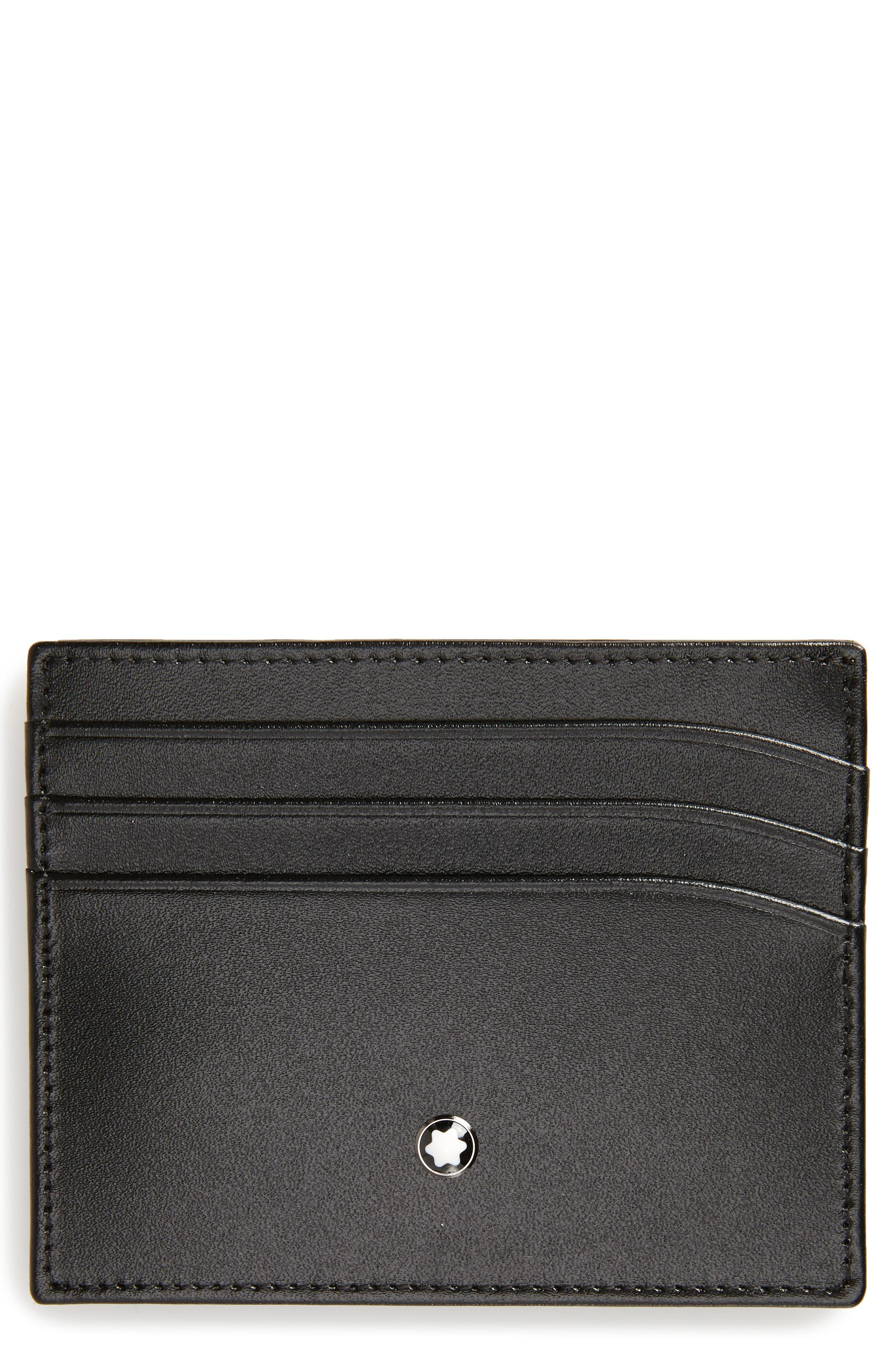 Meisterstück Leather Card Case,                             Main thumbnail 1, color,                             BLACK