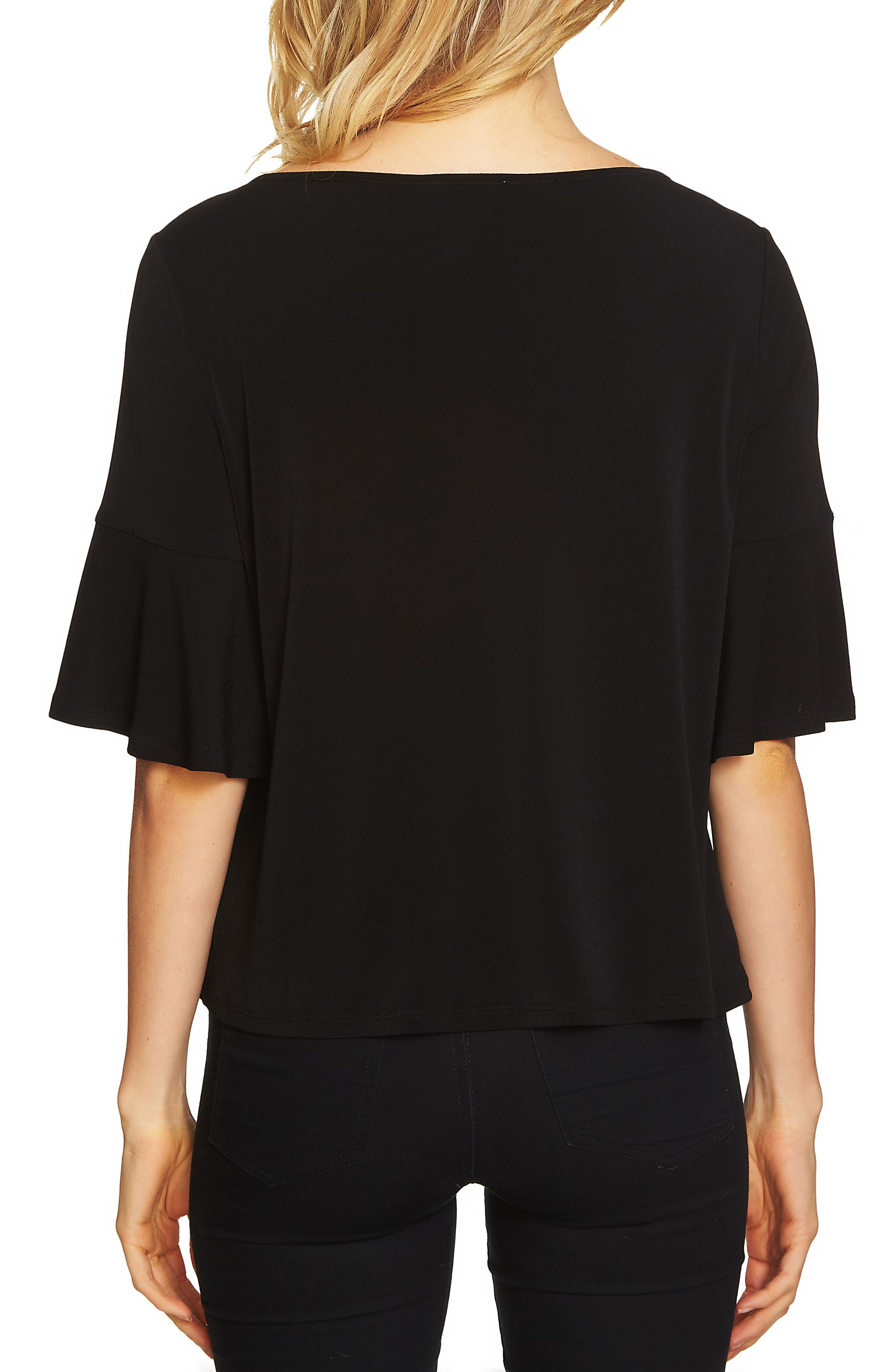 Ruffle Sleeve Crepe Knit Top,                             Alternate thumbnail 2, color,                             001