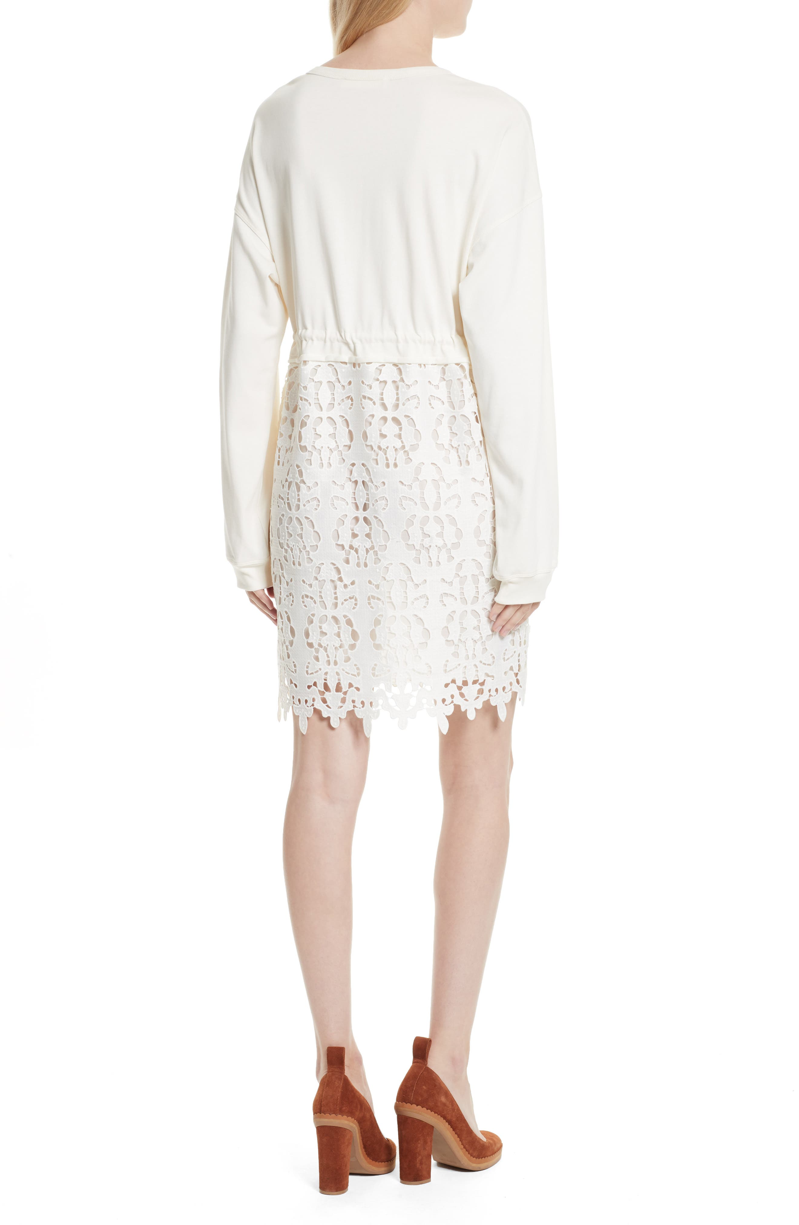SEE BY CHLOÉ,                             Lace Skirt Sweatshirt Dress,                             Alternate thumbnail 2, color,                             101