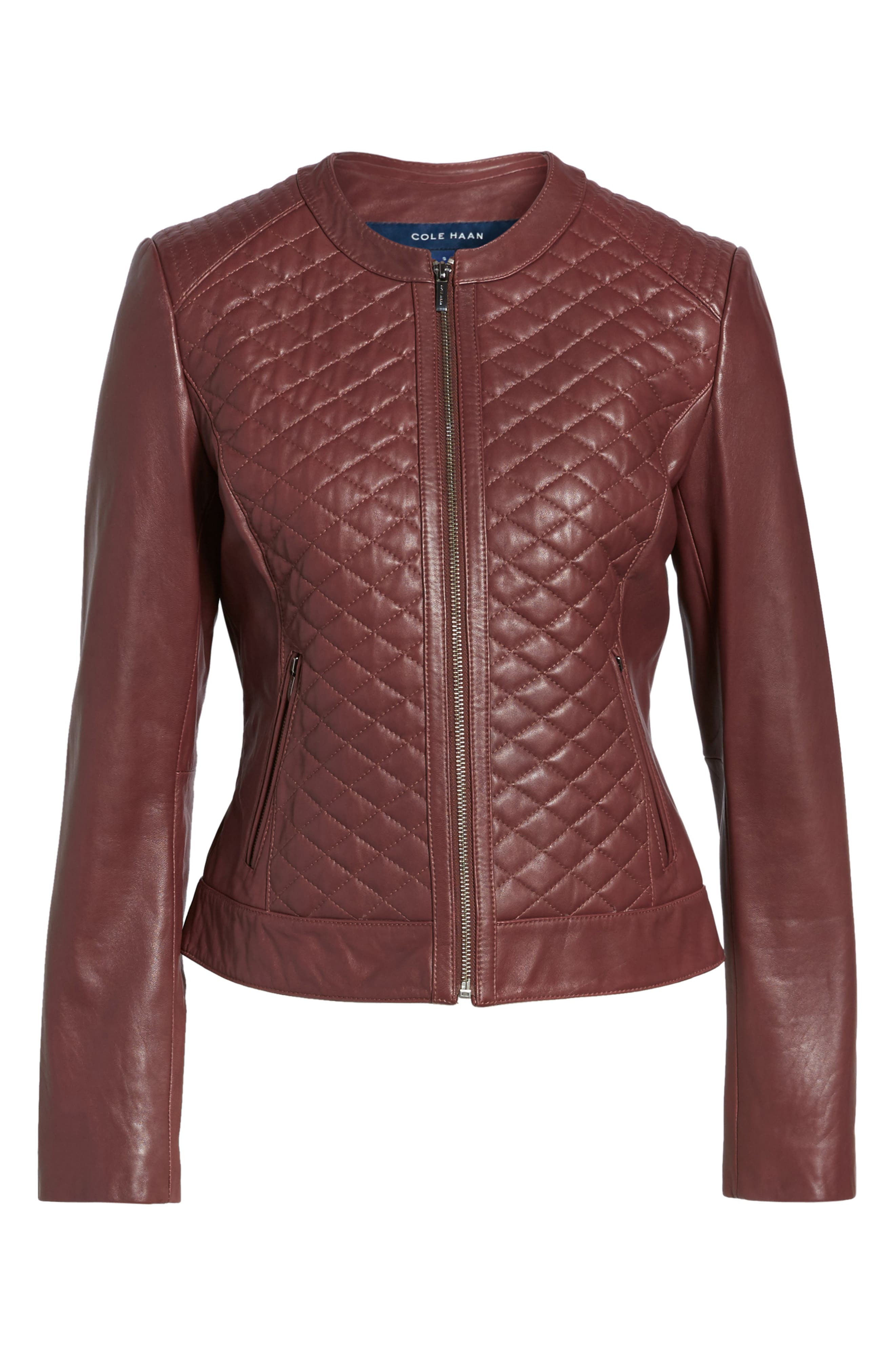 COLE HAAN,                             Quilted Leather Moto Jacket,                             Alternate thumbnail 5, color,                             602