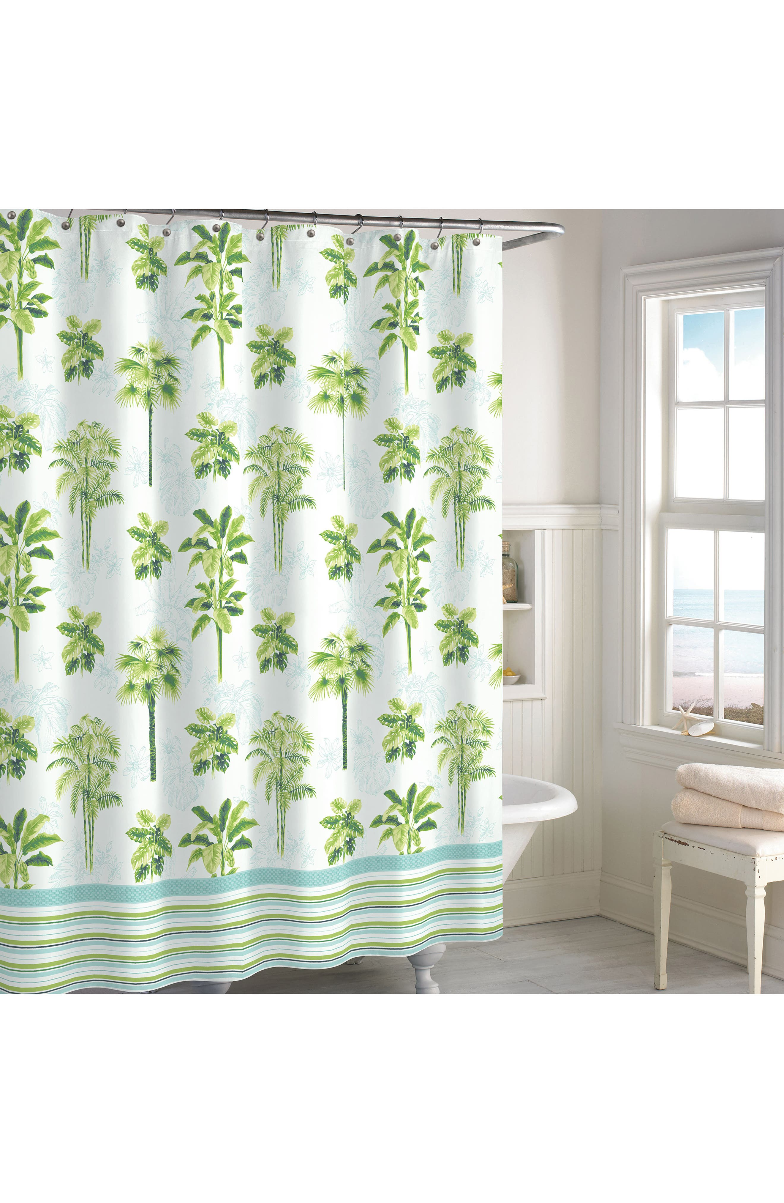 Tropical Palm Shower Curtain,                         Main,                         color, 300