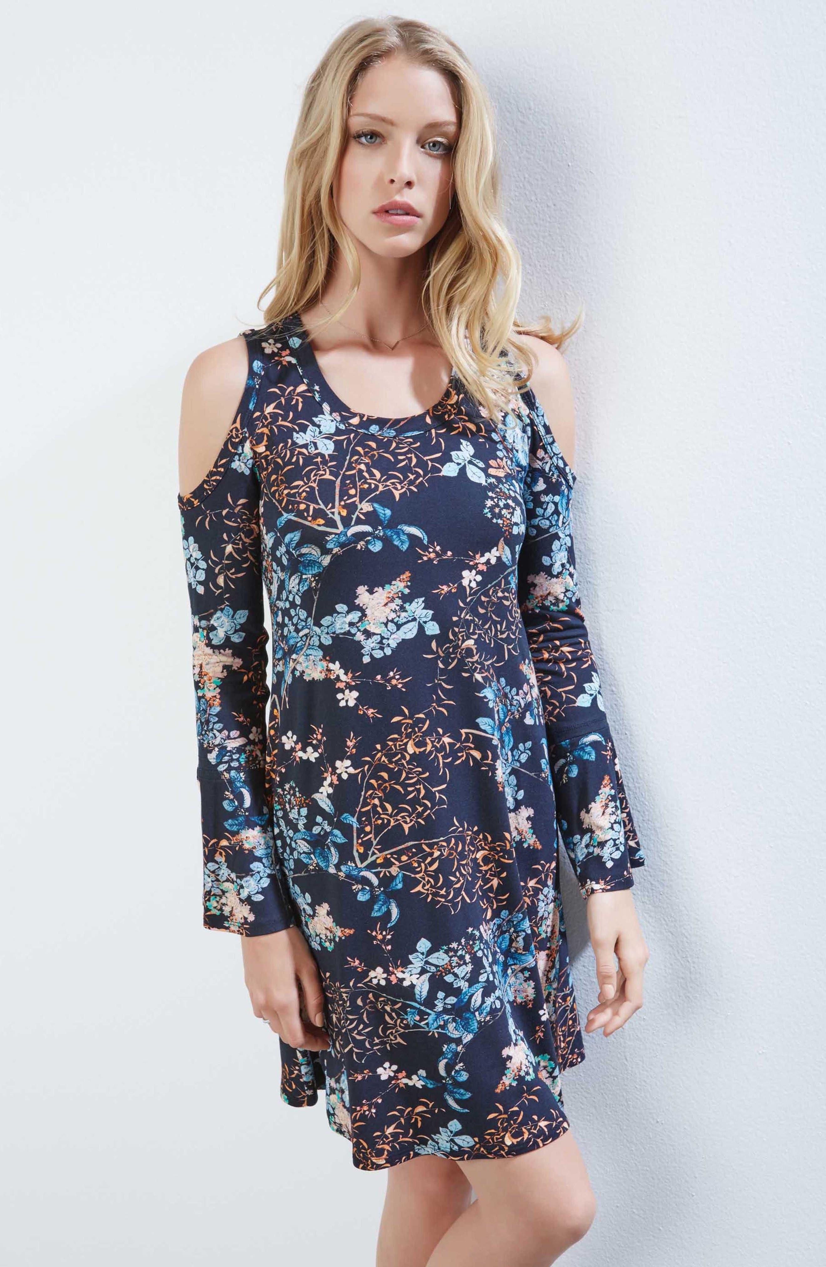 Cold Shoulder Floral A-Line Dress,                             Alternate thumbnail 3, color,                             400