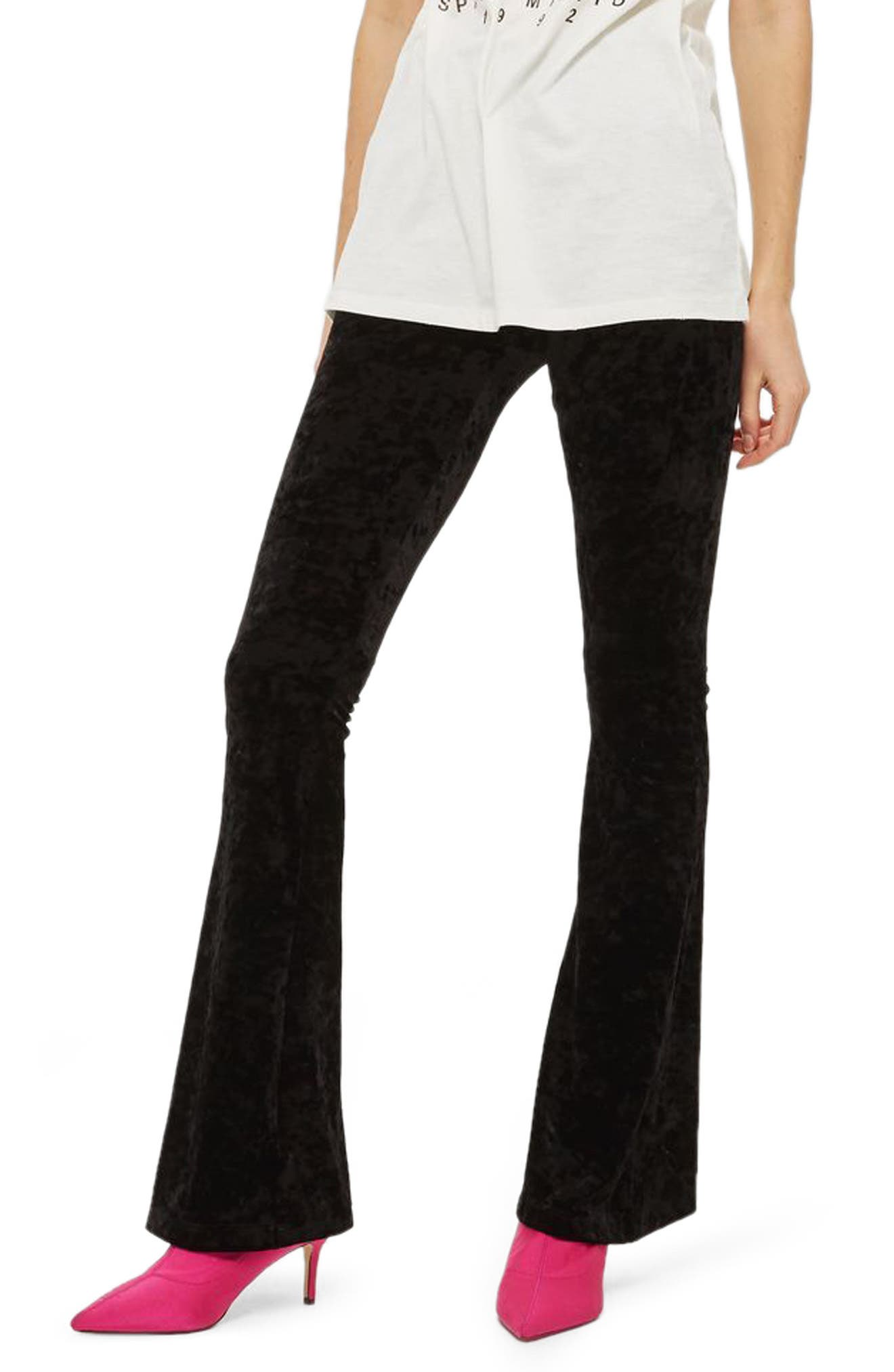 Velvet Flare Leg Trousers,                             Main thumbnail 1, color,                             001