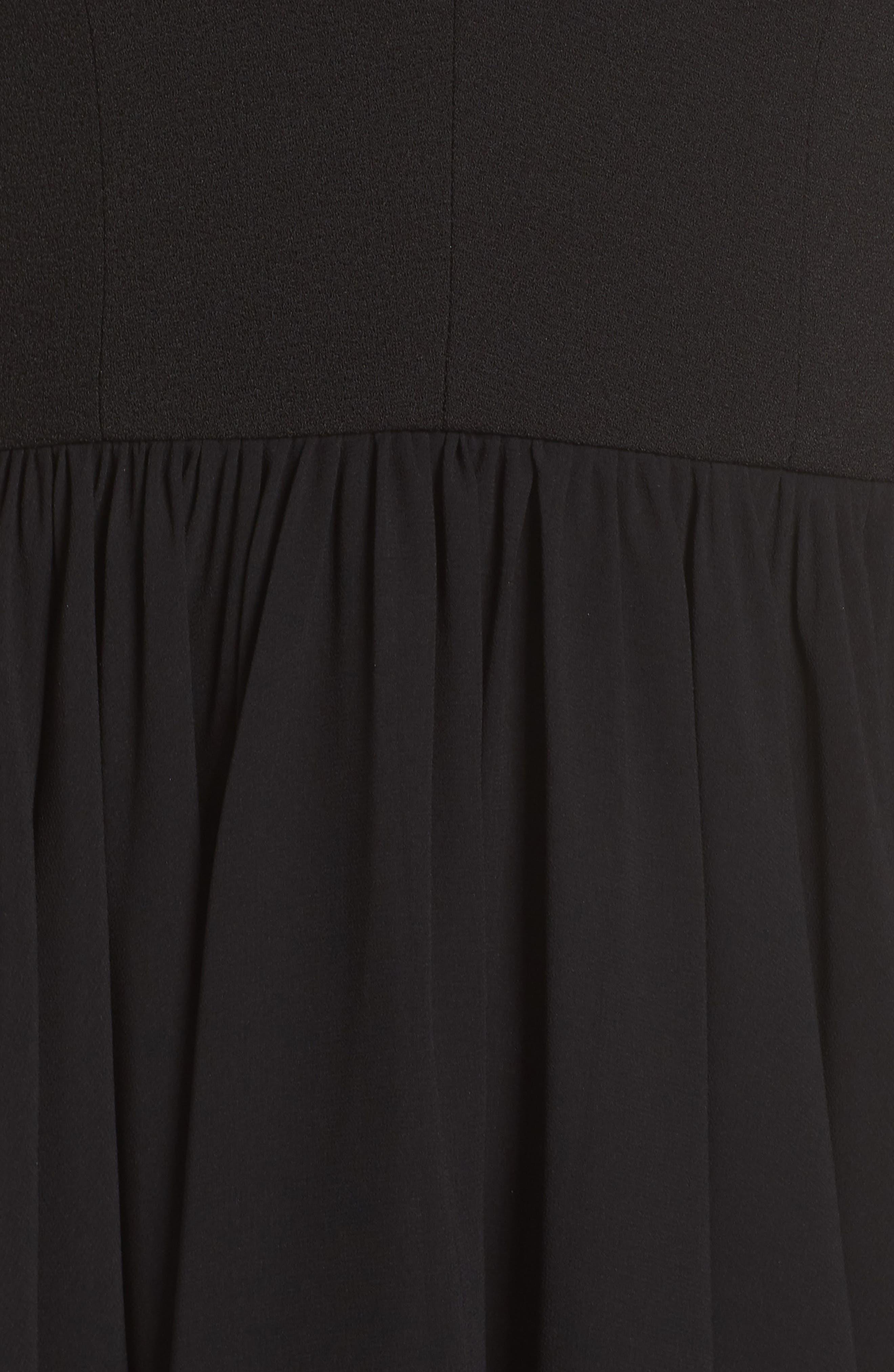 Corey Chiffon Fit & Flare Dress,                             Alternate thumbnail 7, color,                             BLACK