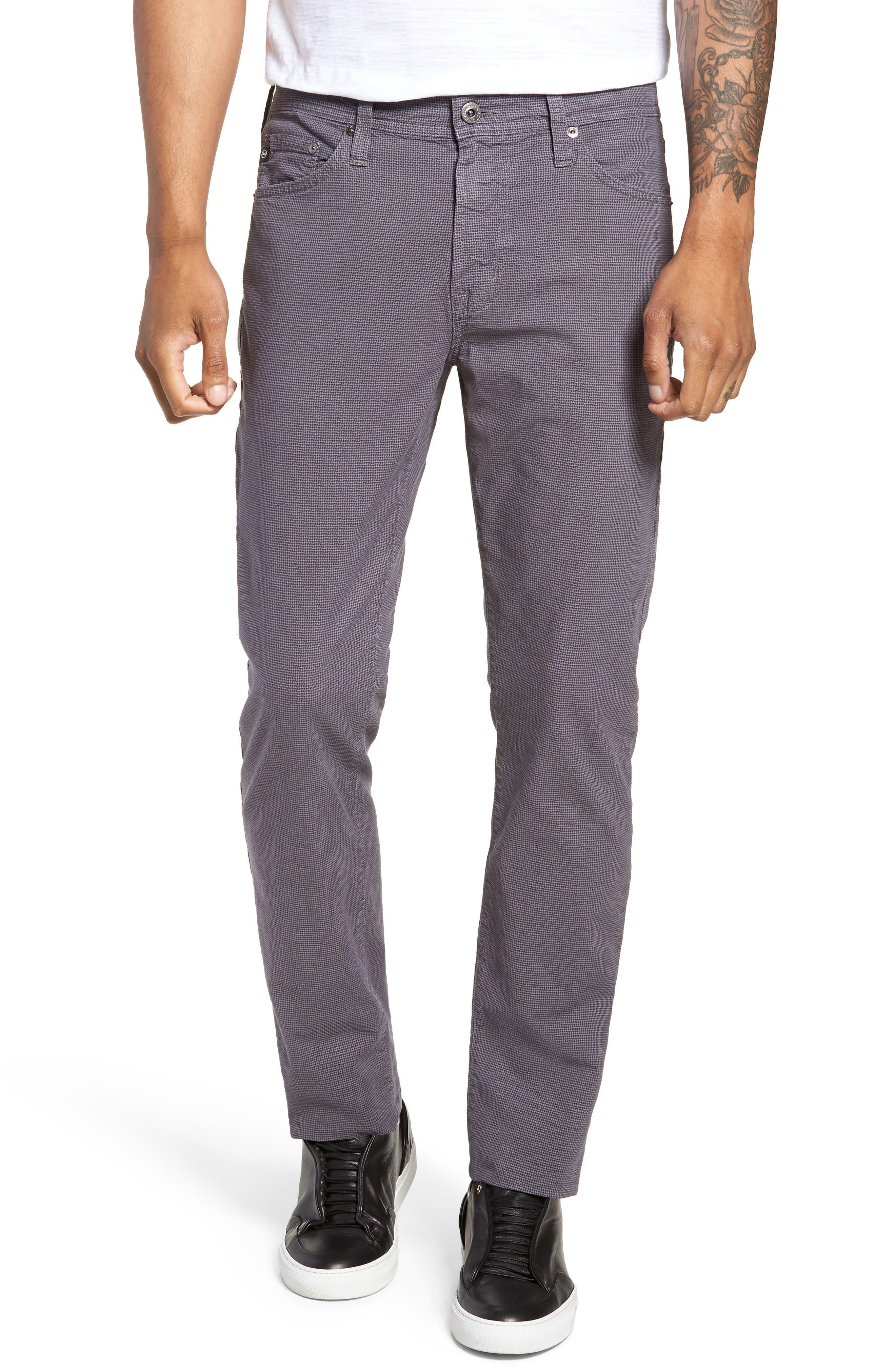 Everett Houndstooth Slim Fit Pants,                         Main,                         color, AUTUMN FOG