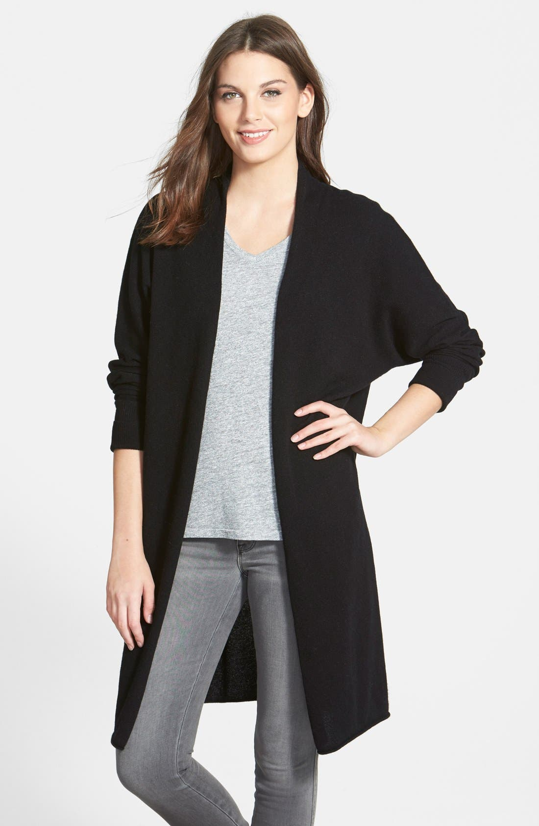 NORDSTROM COLLECTION,                             Dolman Sleeve Long Cashmere Cardigan,                             Main thumbnail 1, color,                             001