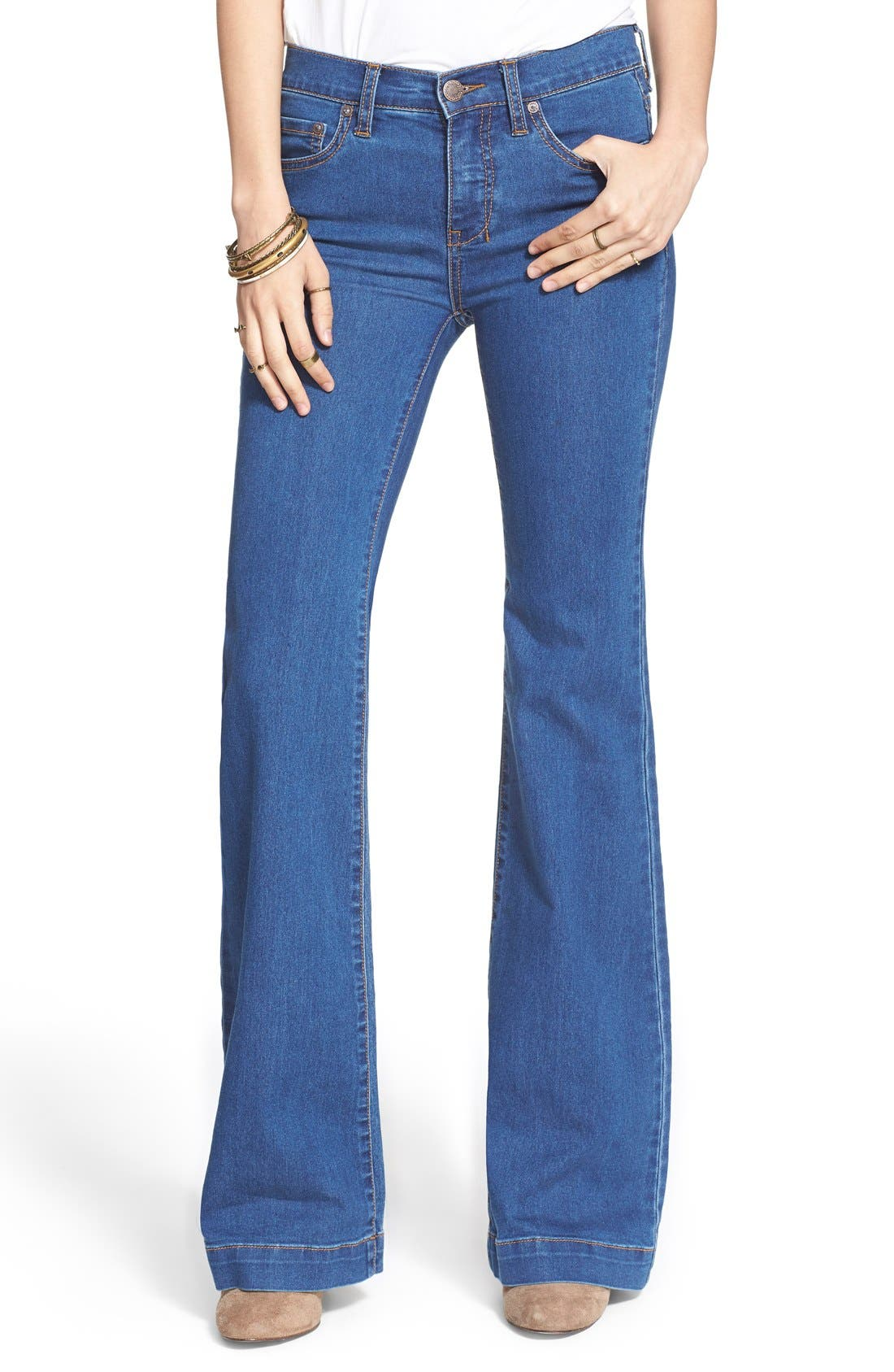 Stretch Mid Rise Flare Jeans,                             Main thumbnail 1, color,                             400
