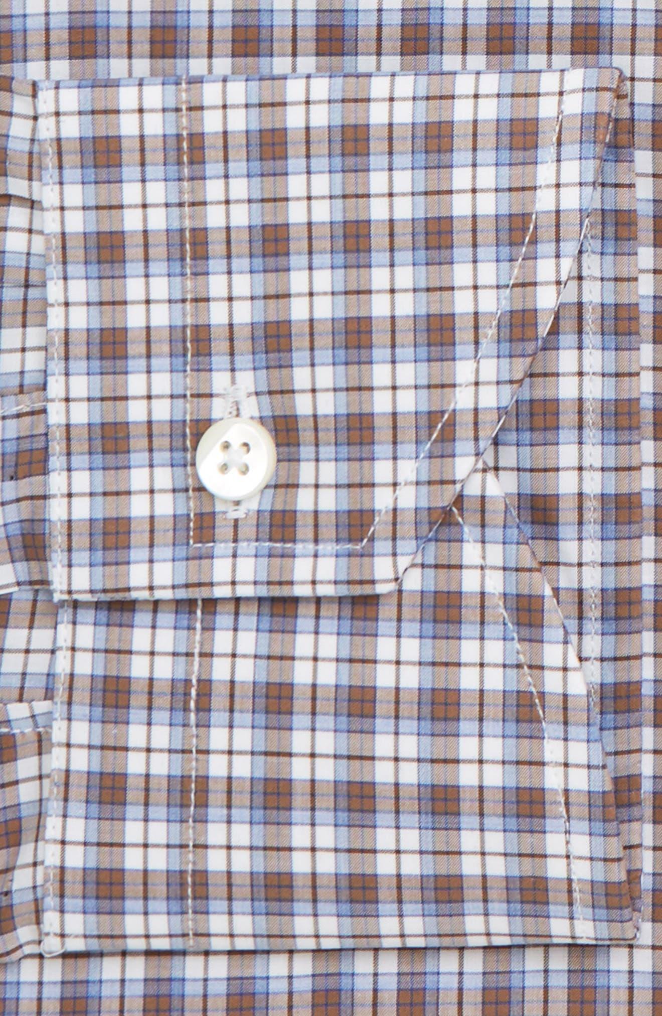 Trim Fit Plaid Dress Shirt,                             Alternate thumbnail 7, color,                             MED BROWN