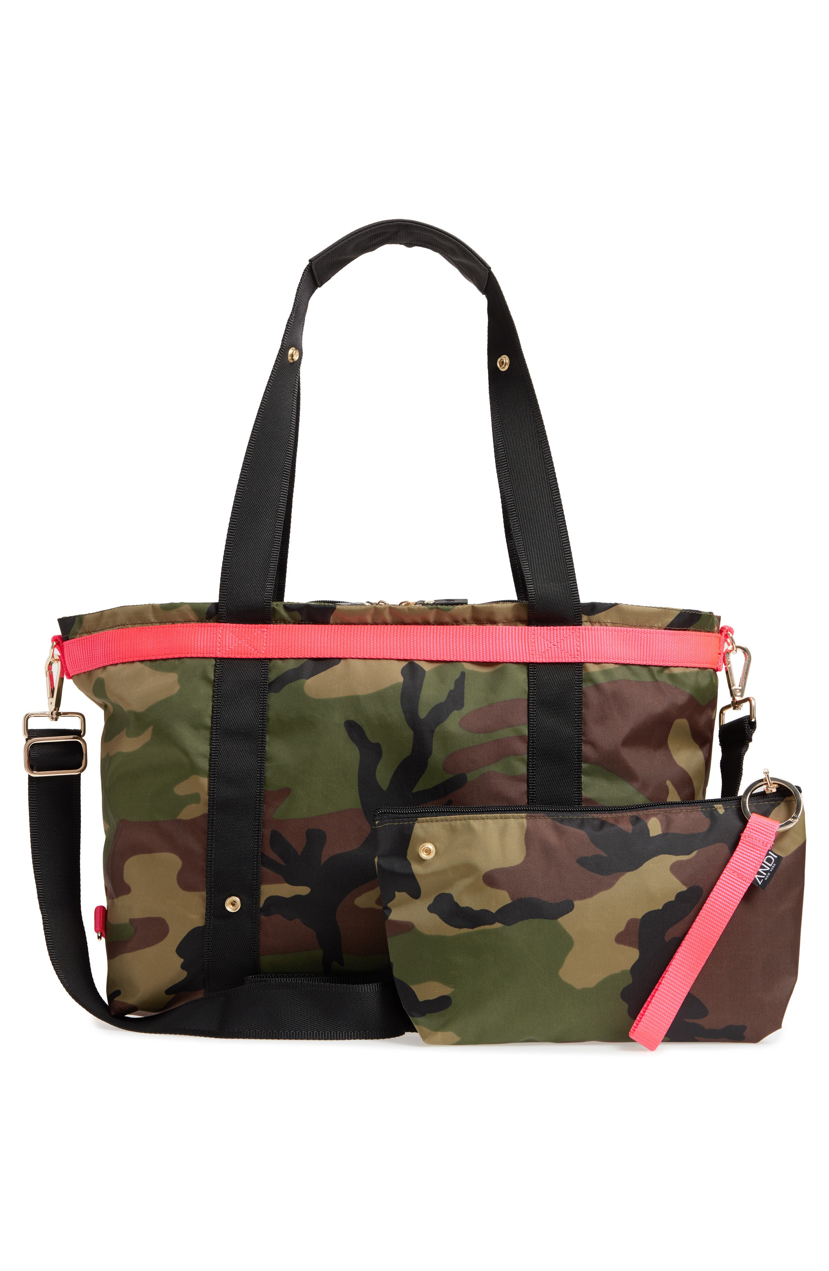 The ANDI Camo Convertible Tote,                             Alternate thumbnail 4, color,                             WOODLAND CAMOUFLAGE/ HOT PINK