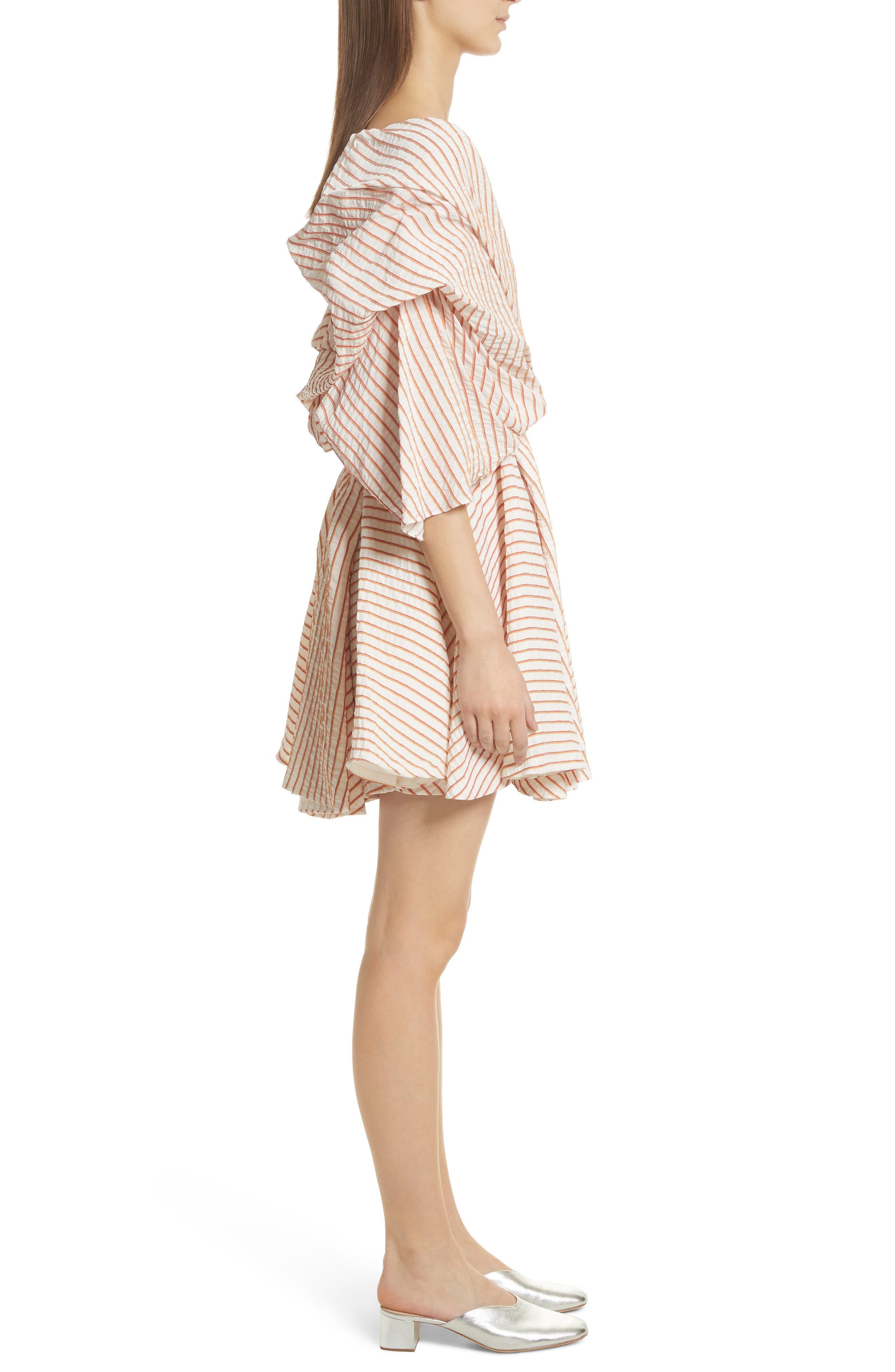 CAROLINE CONSTAS,                             Marcella Stripe Dress,                             Alternate thumbnail 3, color,                             800