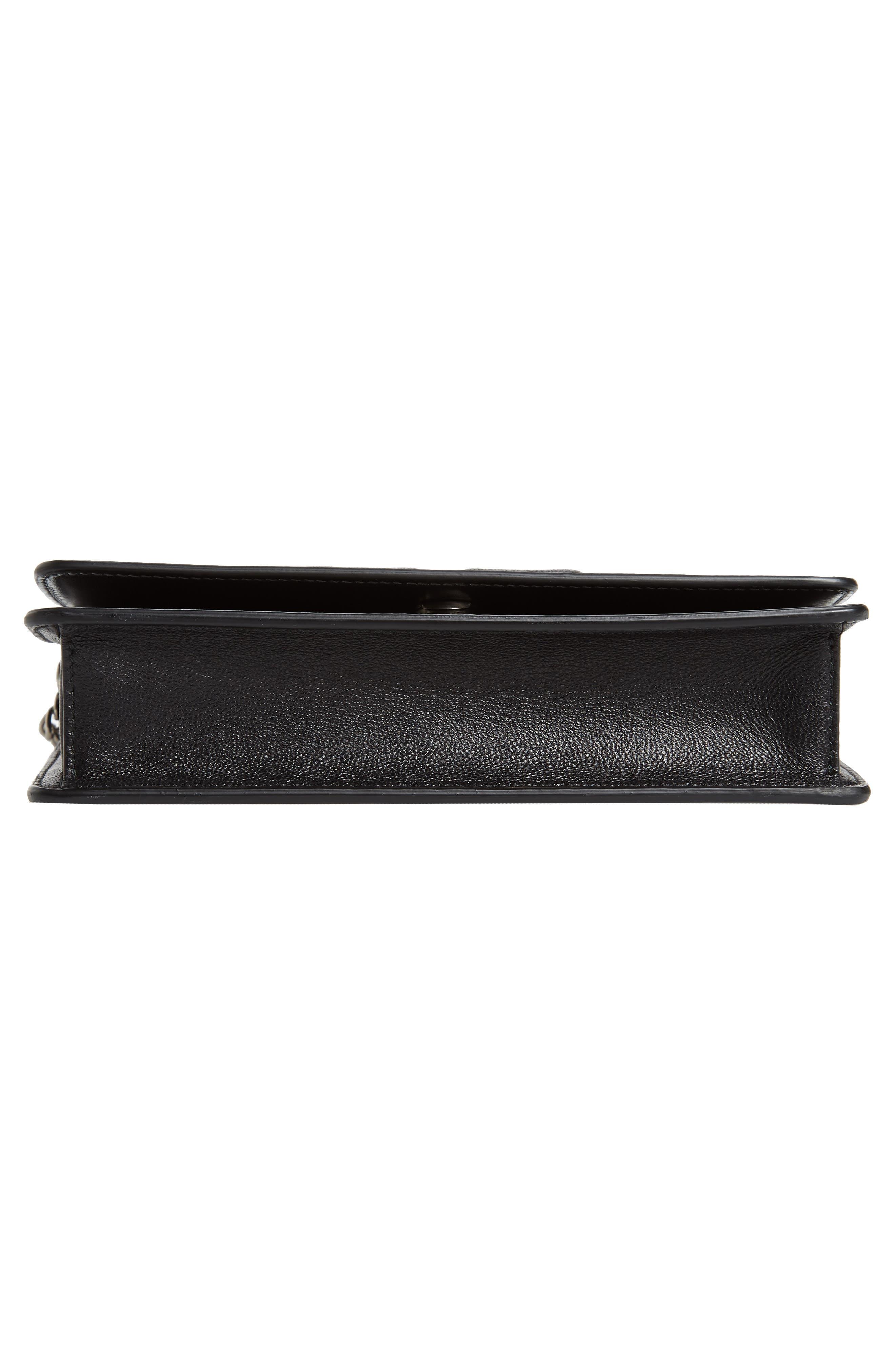 Emblem Lambskin Leather Crossbody Bag,                             Alternate thumbnail 6, color,                             BLACK
