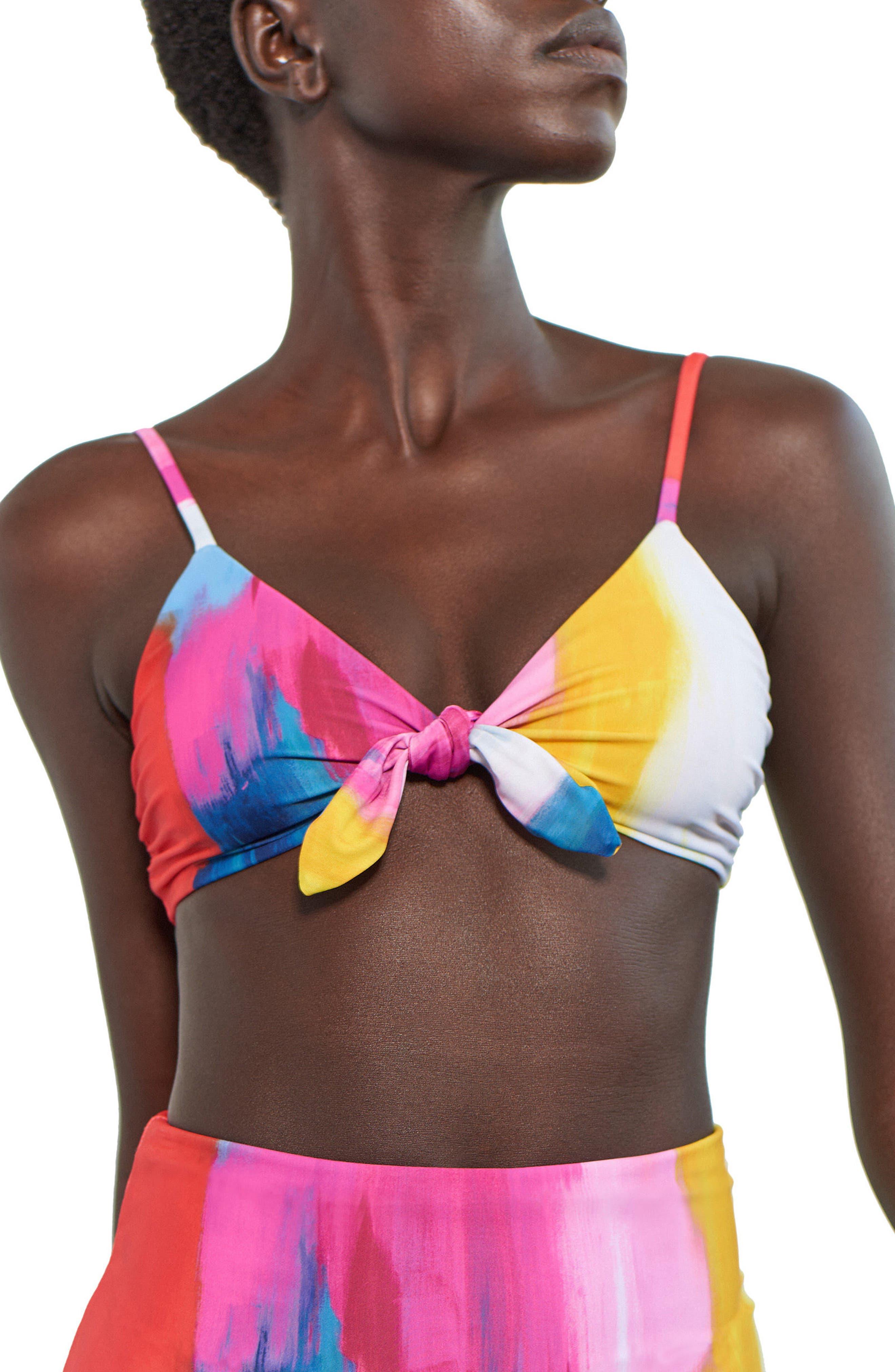 Carla Tie Front Bikini Top,                             Main thumbnail 1, color,                             651