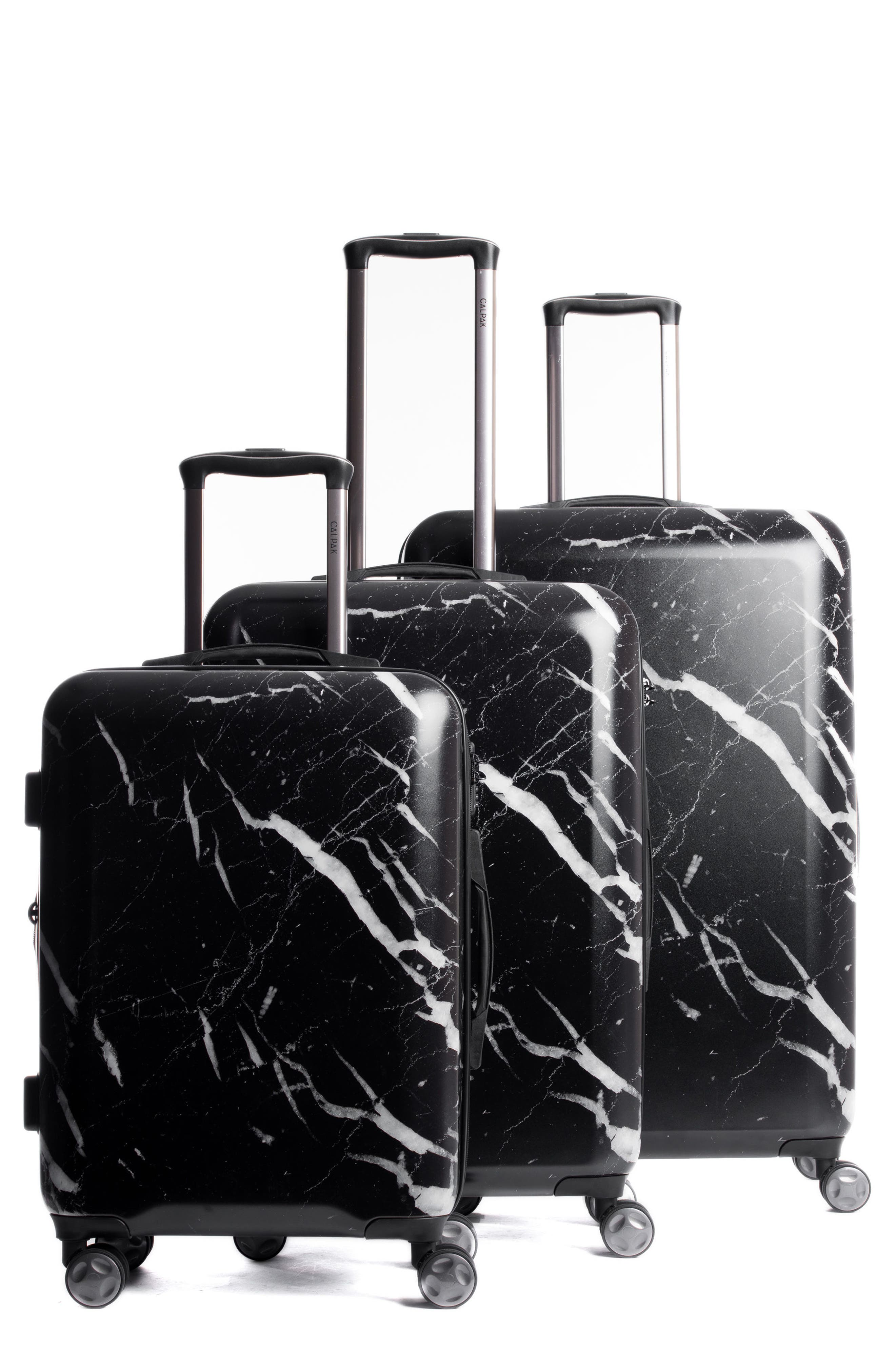 Astyll 3-Piece Marbled Luggage Set,                         Main,                         color, BLACK
