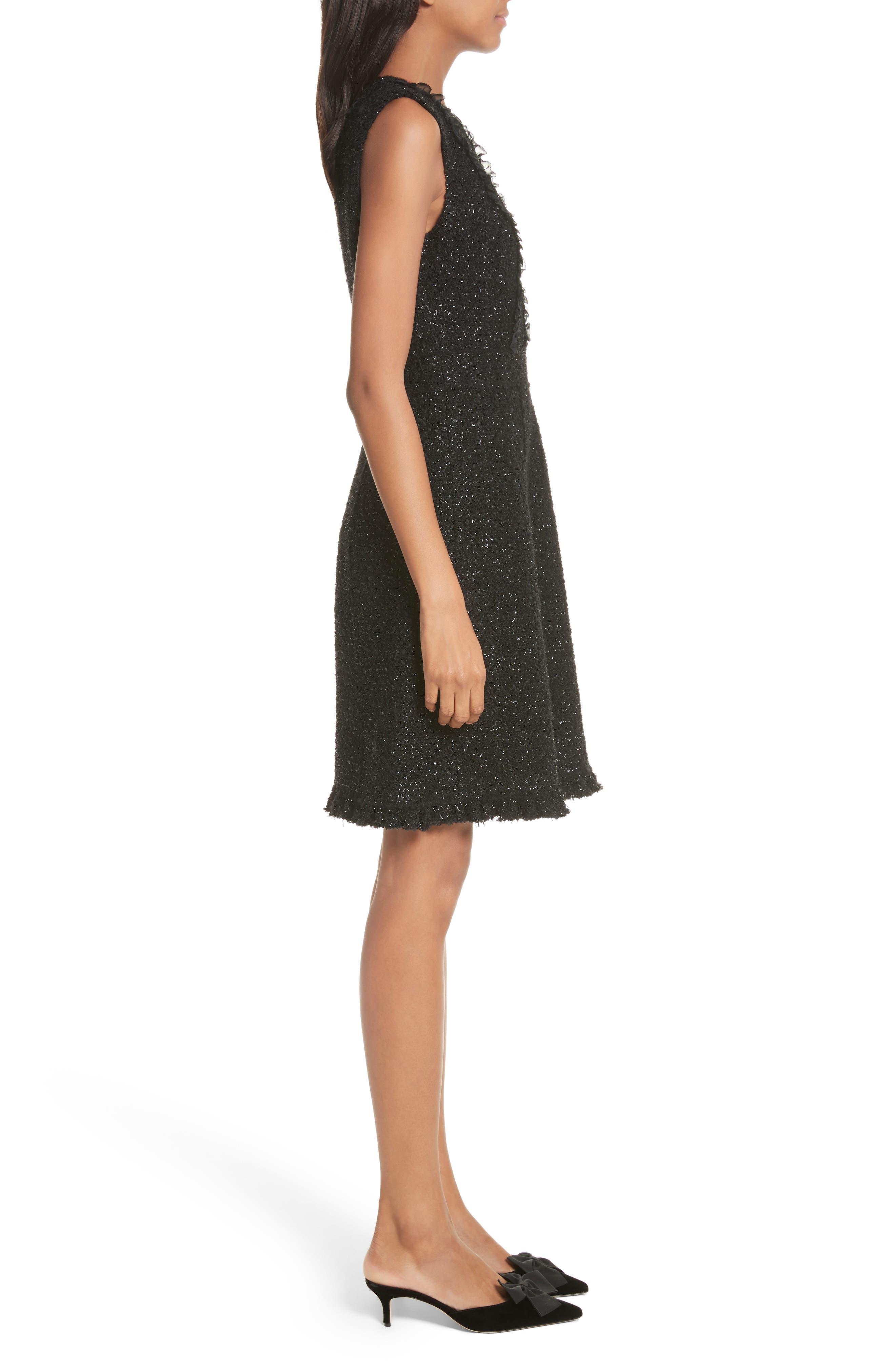 sparkle tweed dress,                             Alternate thumbnail 3, color,                             001