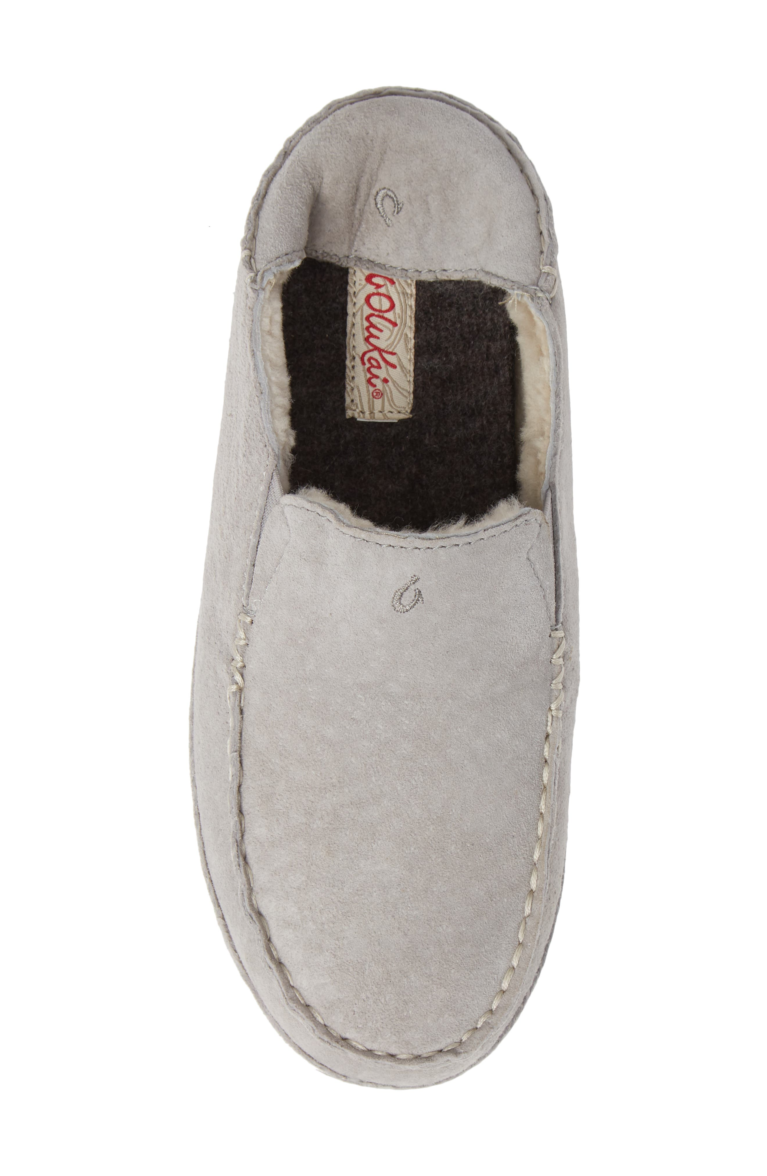 Nohea Nubuck Slipper,                             Alternate thumbnail 6, color,                             PALE GREY/ PALE GREY LEATHER