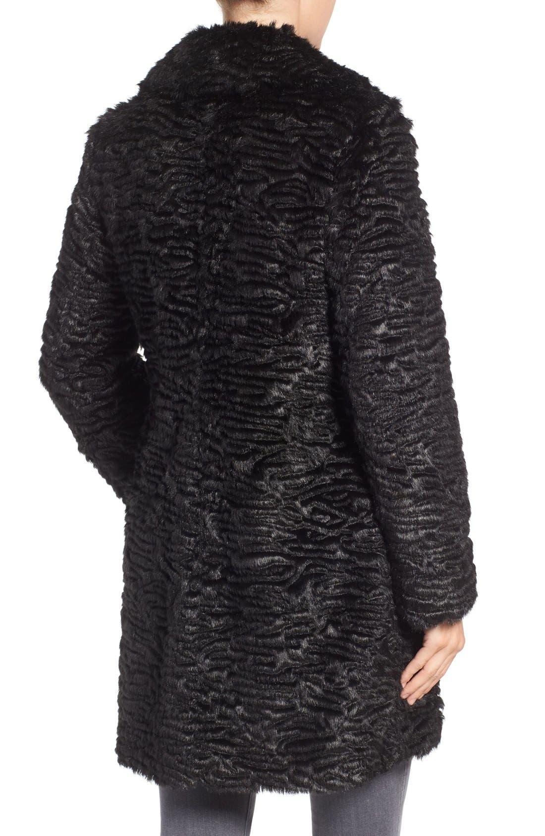 Faux Persian Lamb Coat,                             Alternate thumbnail 2, color,                             001