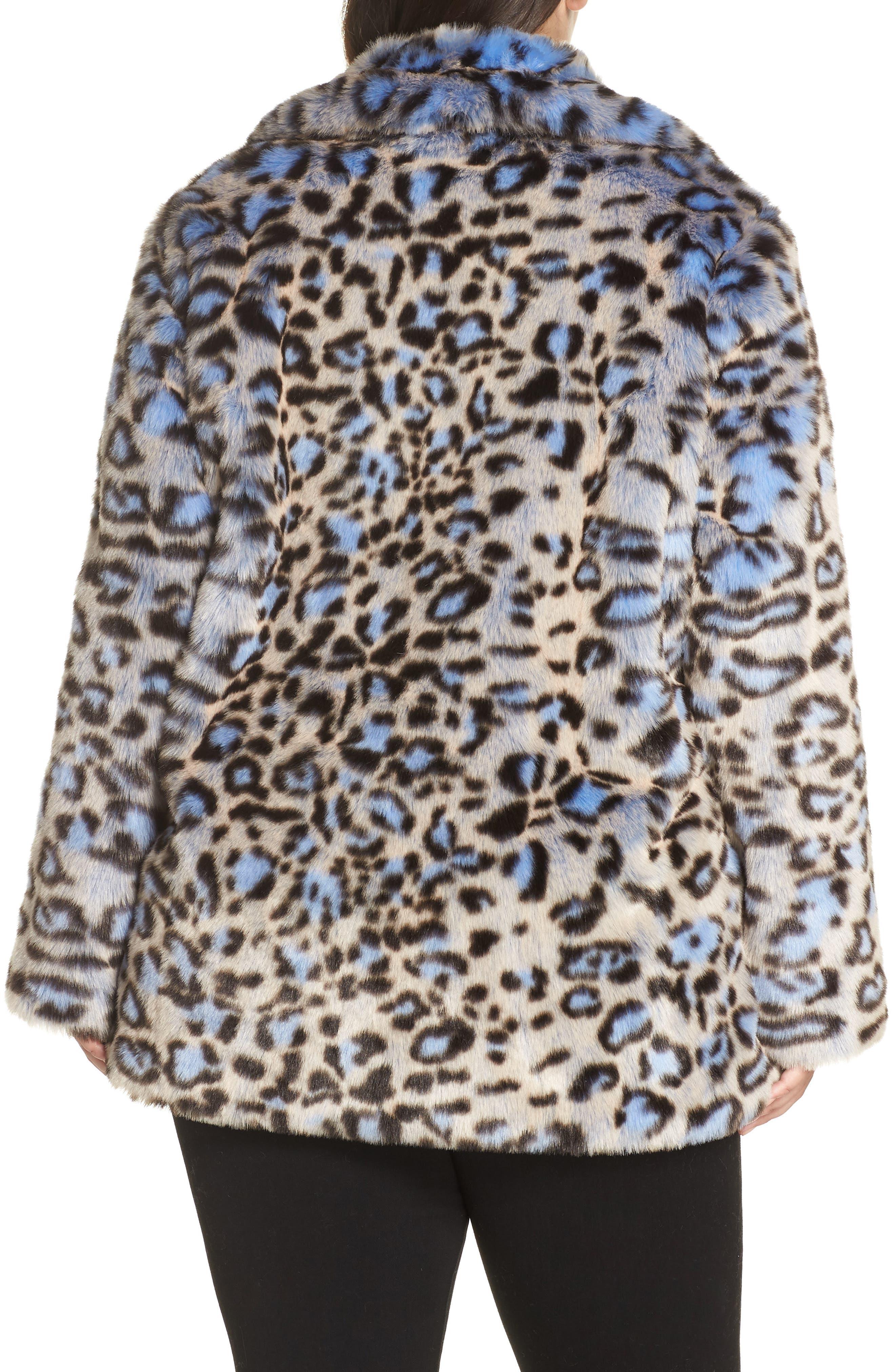Animal Print Faux Fur Coat,                             Alternate thumbnail 2, color,                             BLUE LEOPARD